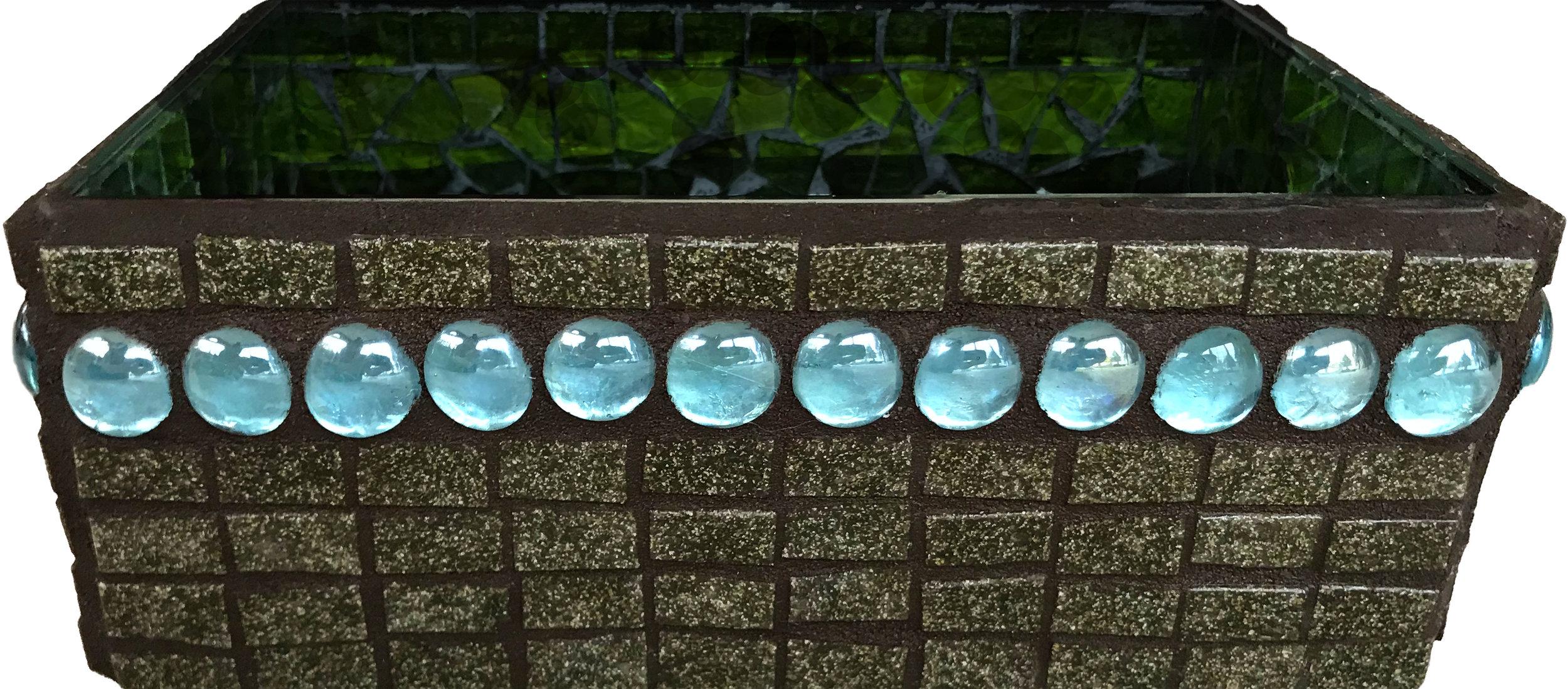 Brown-Blue Gem Mosaic Bin