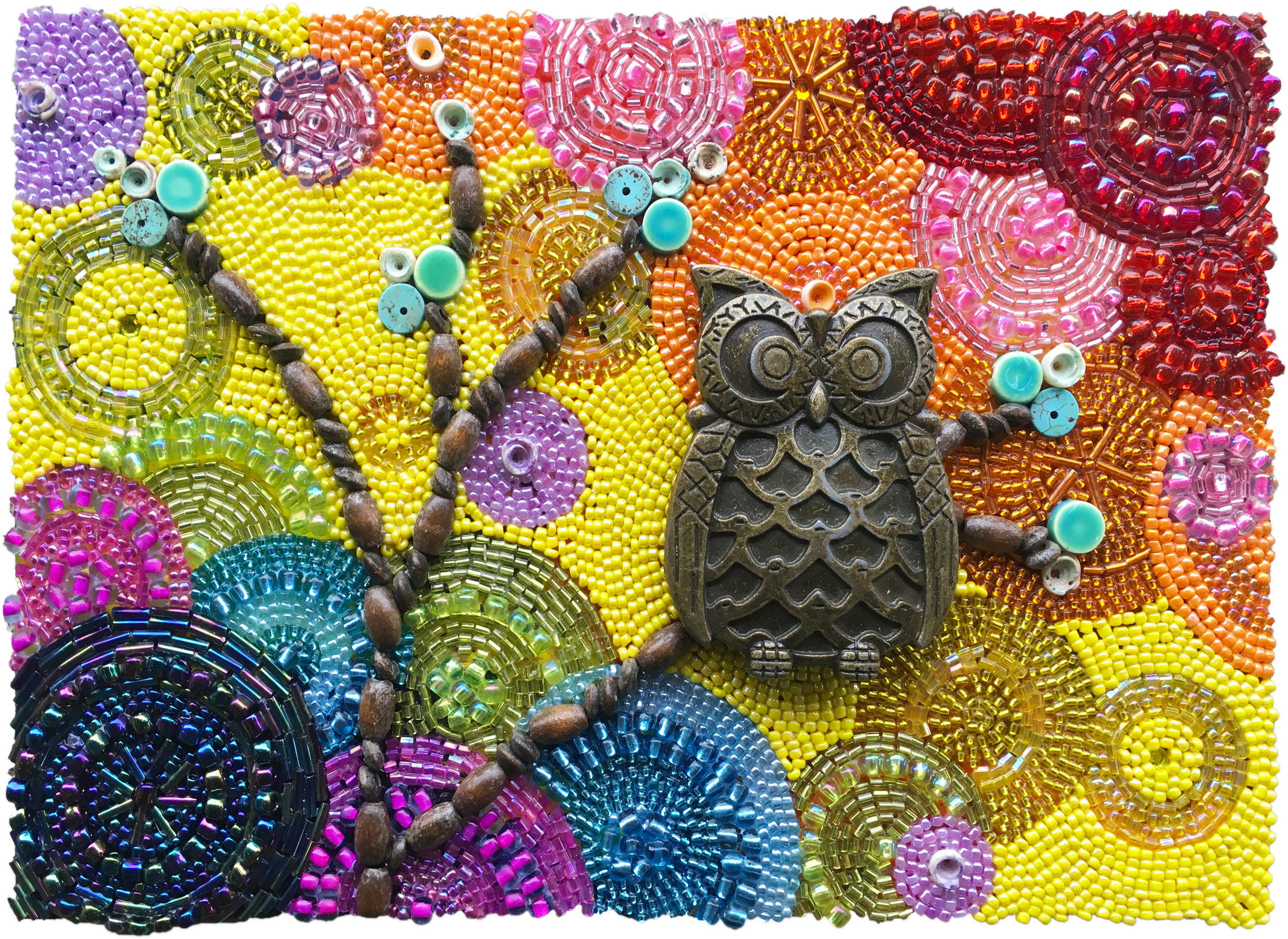 Beaded Owl Mosaic I