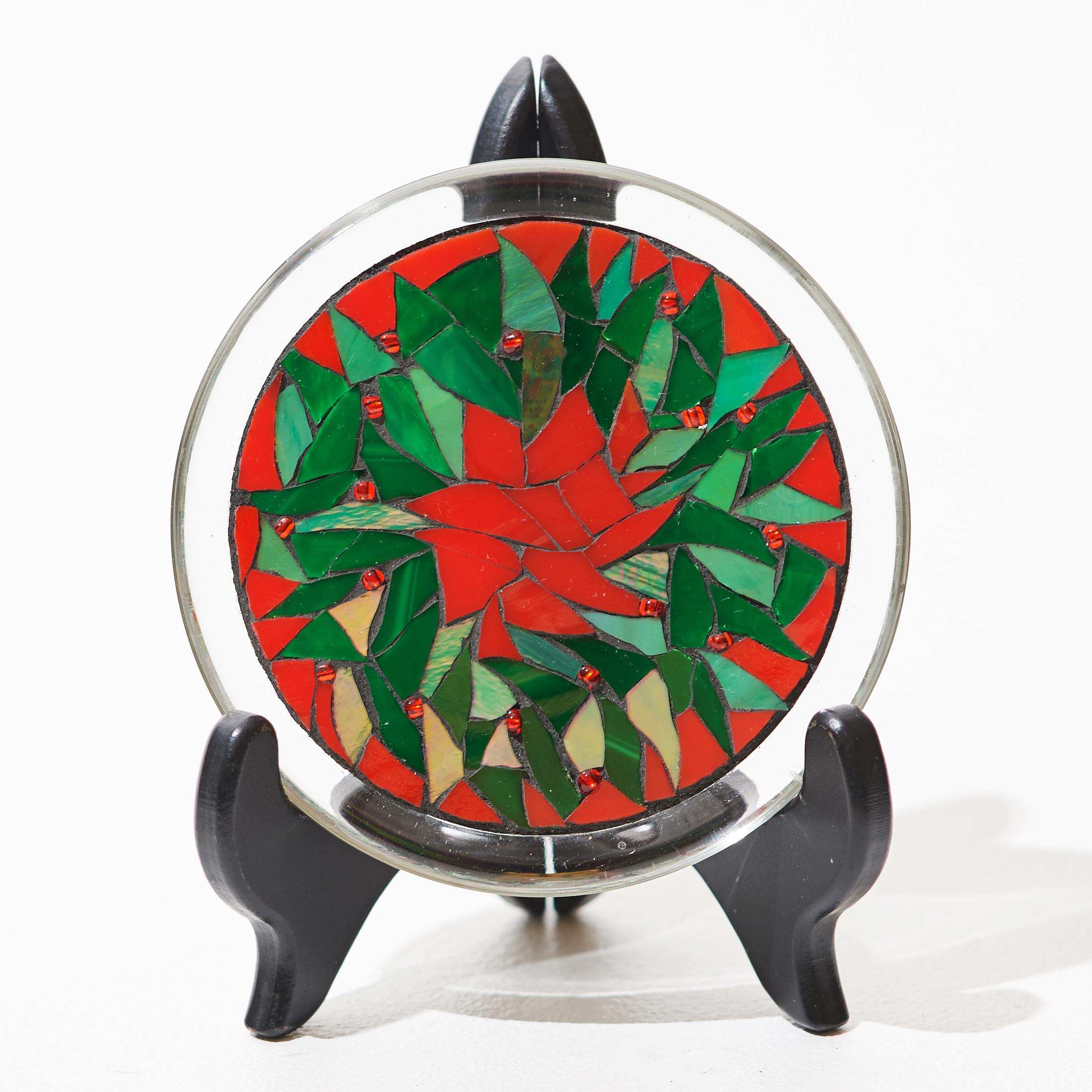 Holiday Wreath Mosaic Plate