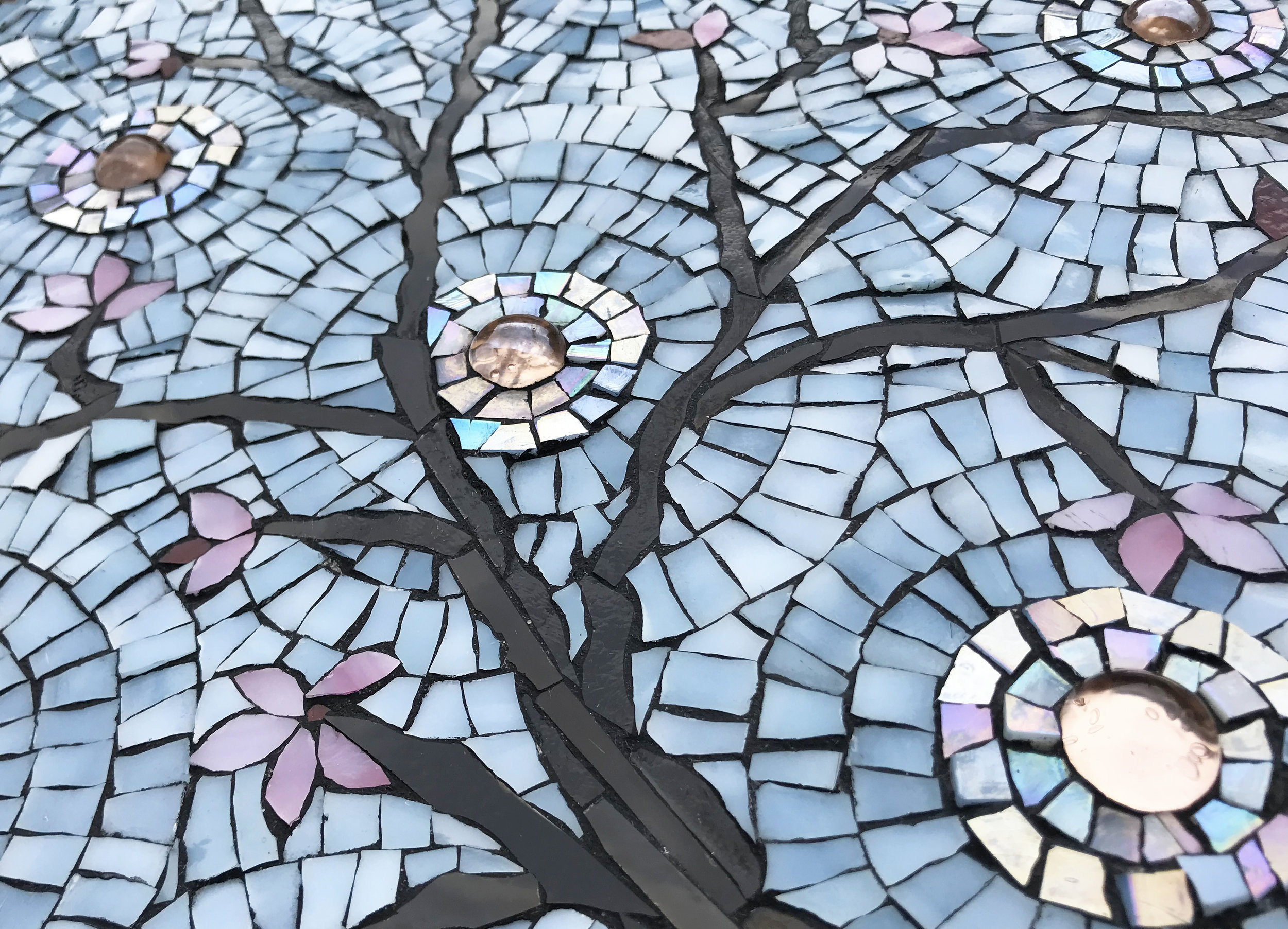 Cherry Blossoms Mosaic Detail