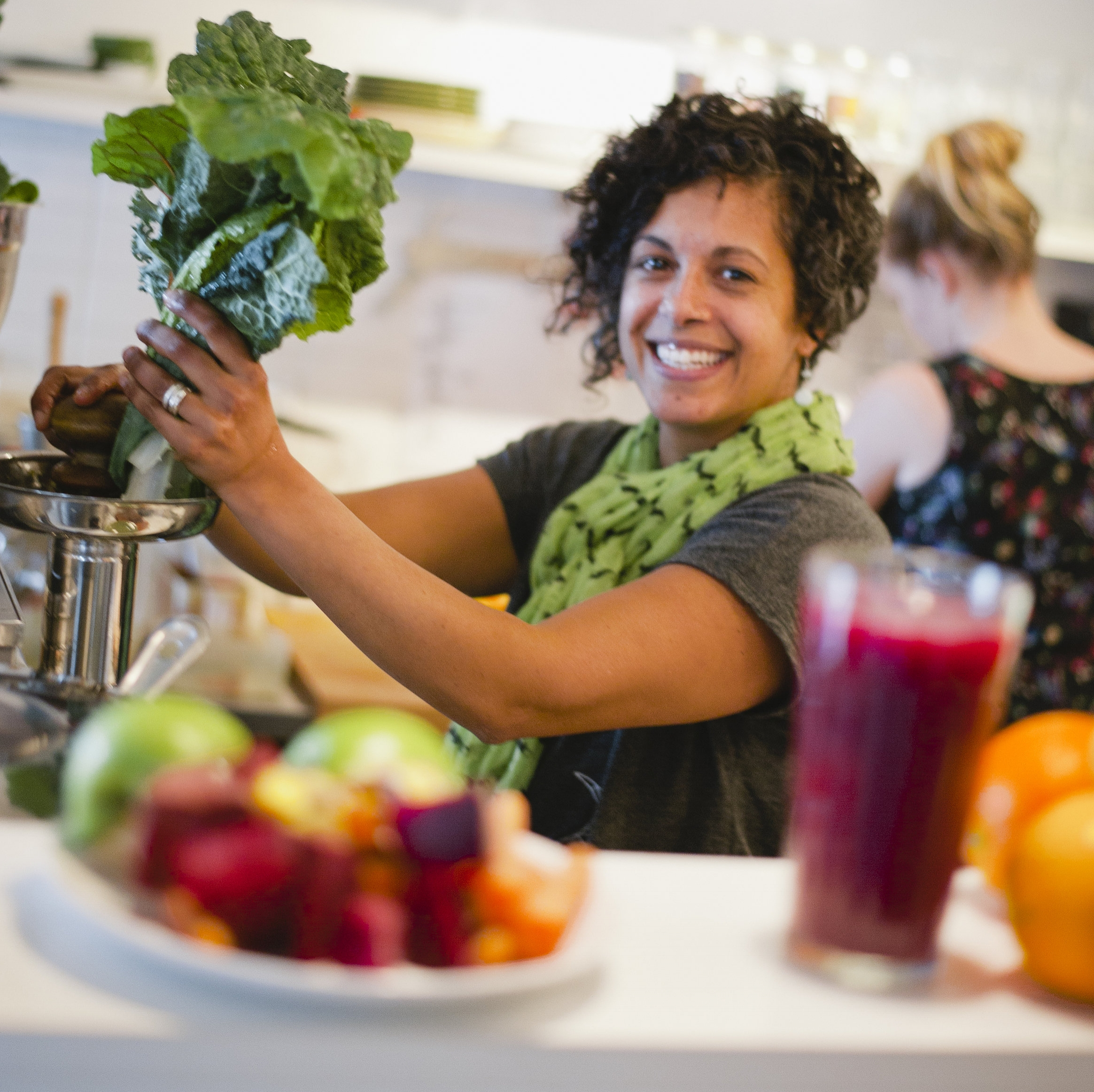 Our founder, Nicolette, juicing up some green goodness