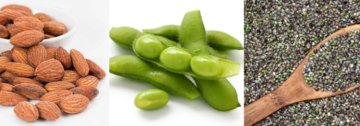 ¼ cup of almonds provides 6g protein | Edamame provides 17g of protein per cup | 3 tbsp of hemp seeds provide 10g of protein