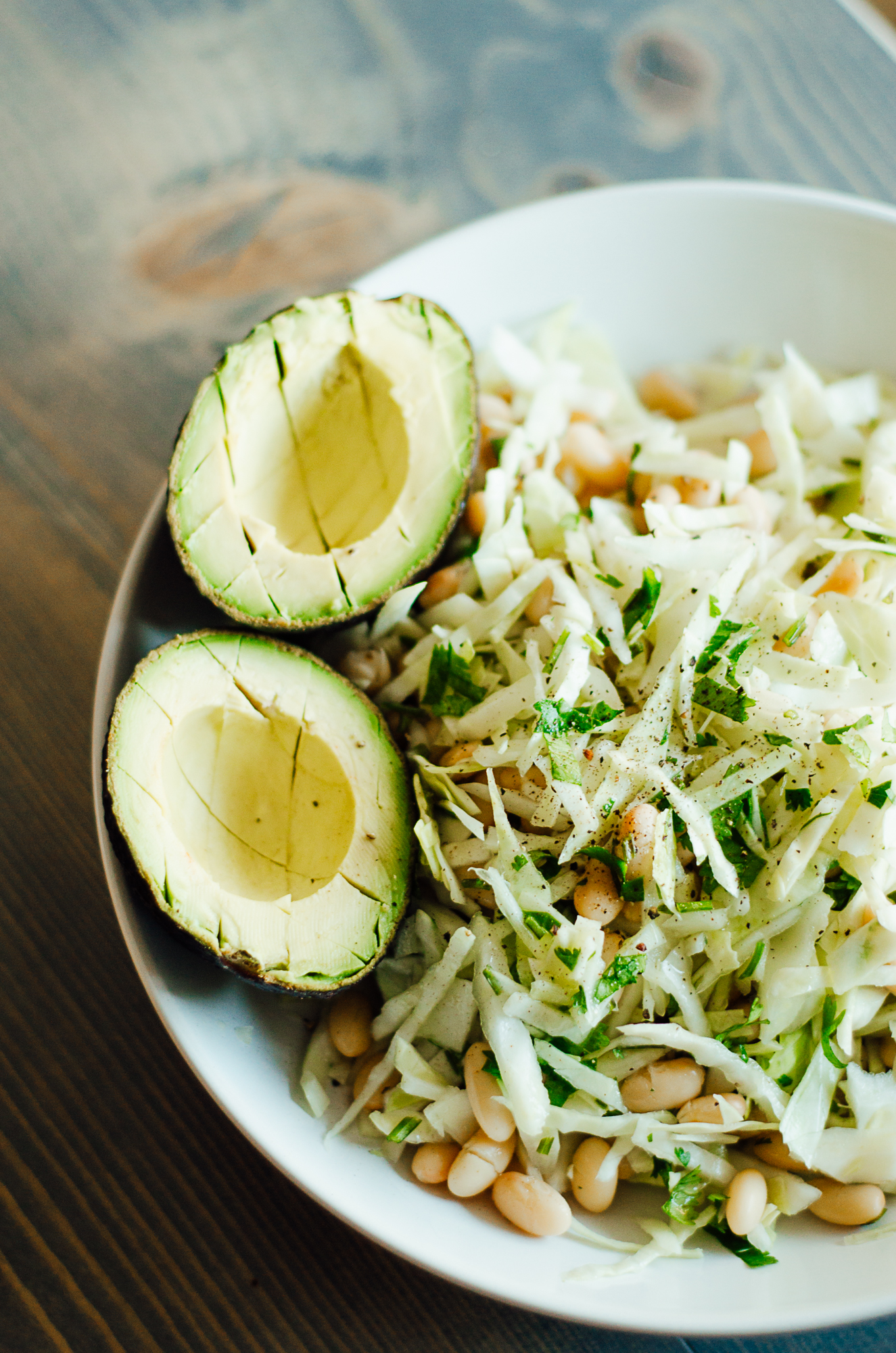 Cabbage with lime, cilantro & white bean makes the perfect salad - the nomadic wife