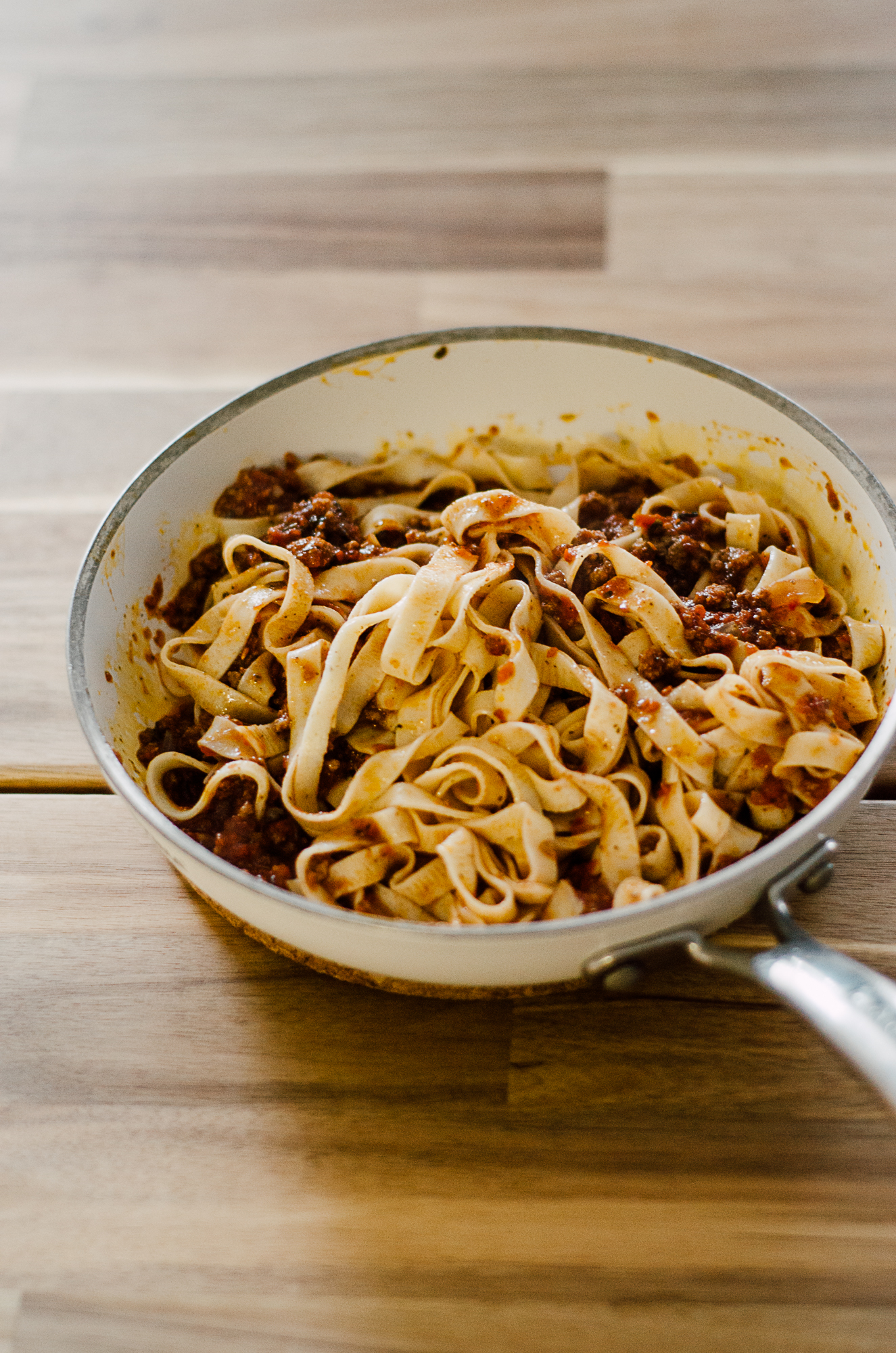 fresh pasta with meat sauce - the nomadic wife
