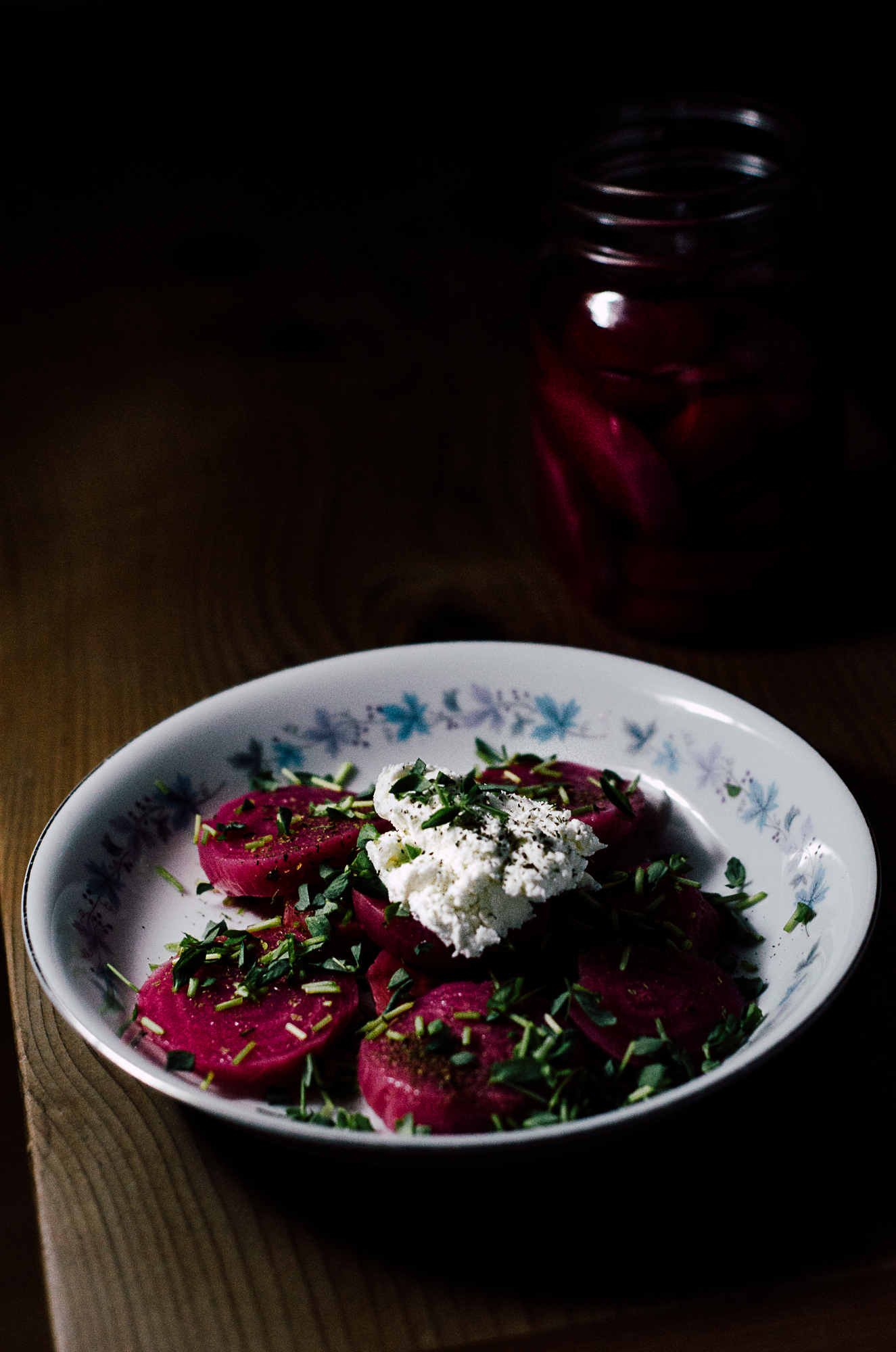simple beet salad with goat cheese and mint - the nomadic wife