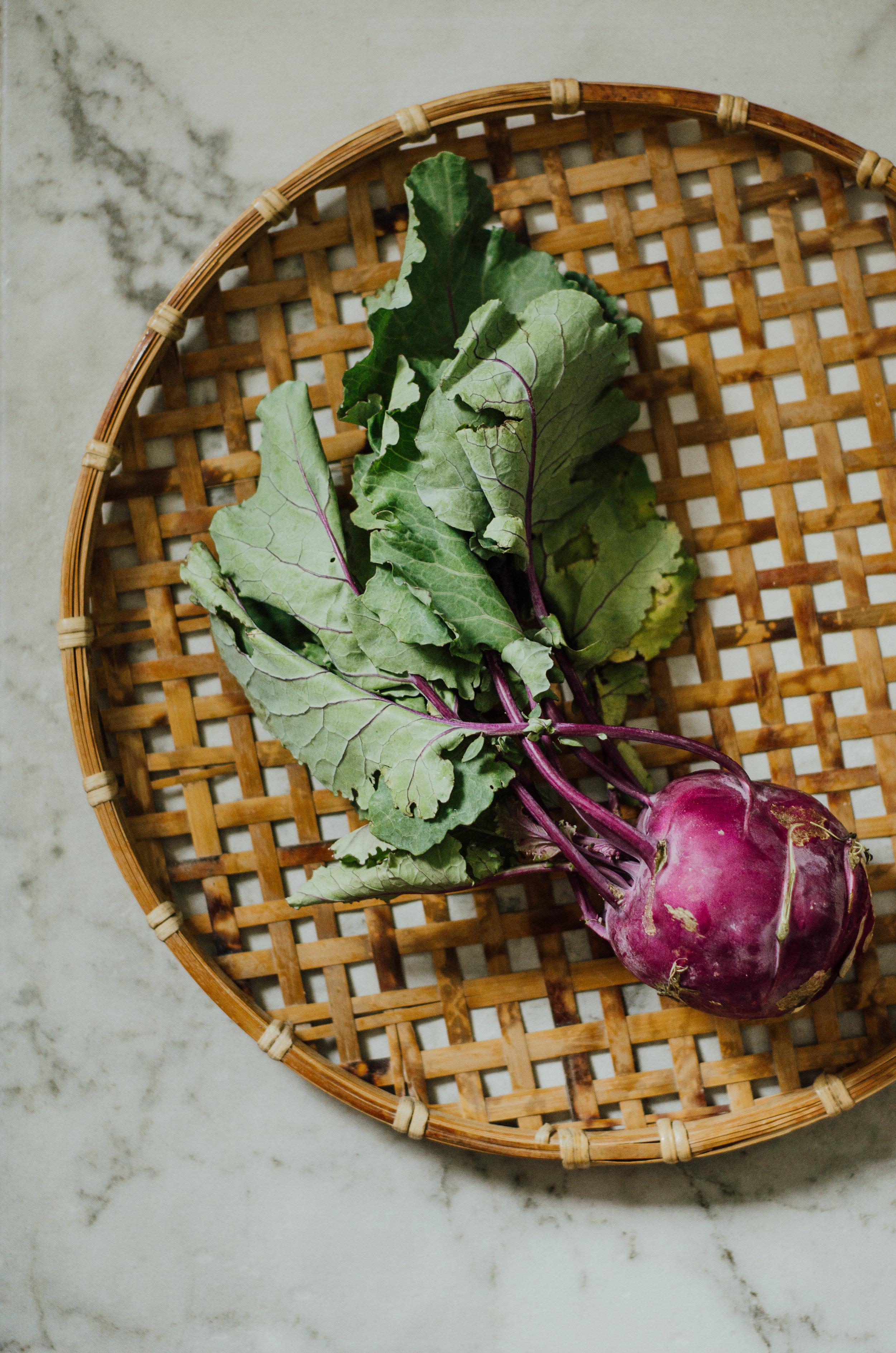 kohlrabi, kale & carrot summer bowl - the nomadic wife - riverbend gardens