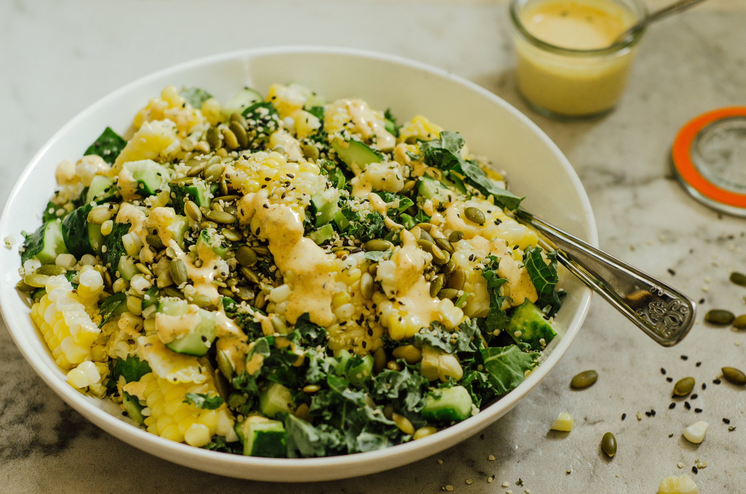 Corn, Kale & Cuke Salad with Chili Lime Sauce - The Nomadic Wife-7662.jpg