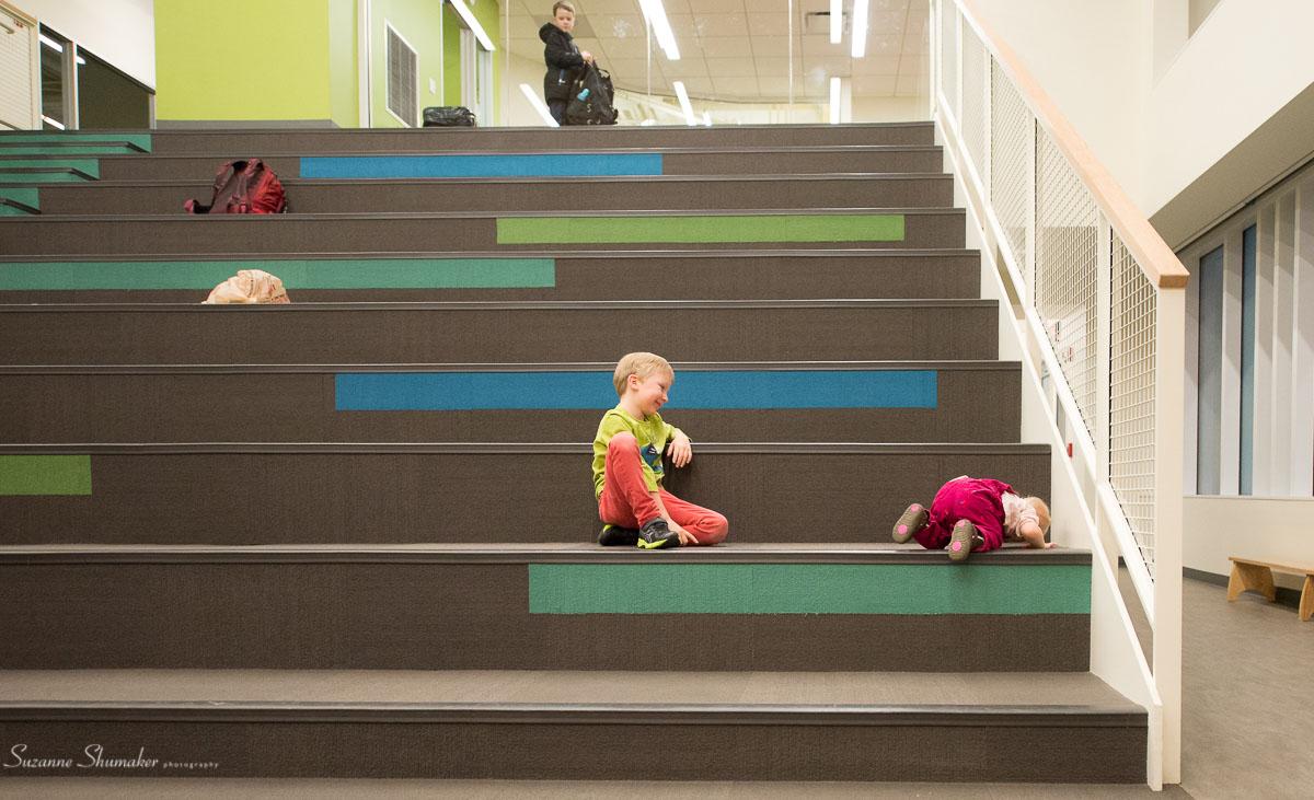 Chiaravalle Montessori School ~ Navigating the stadium seating