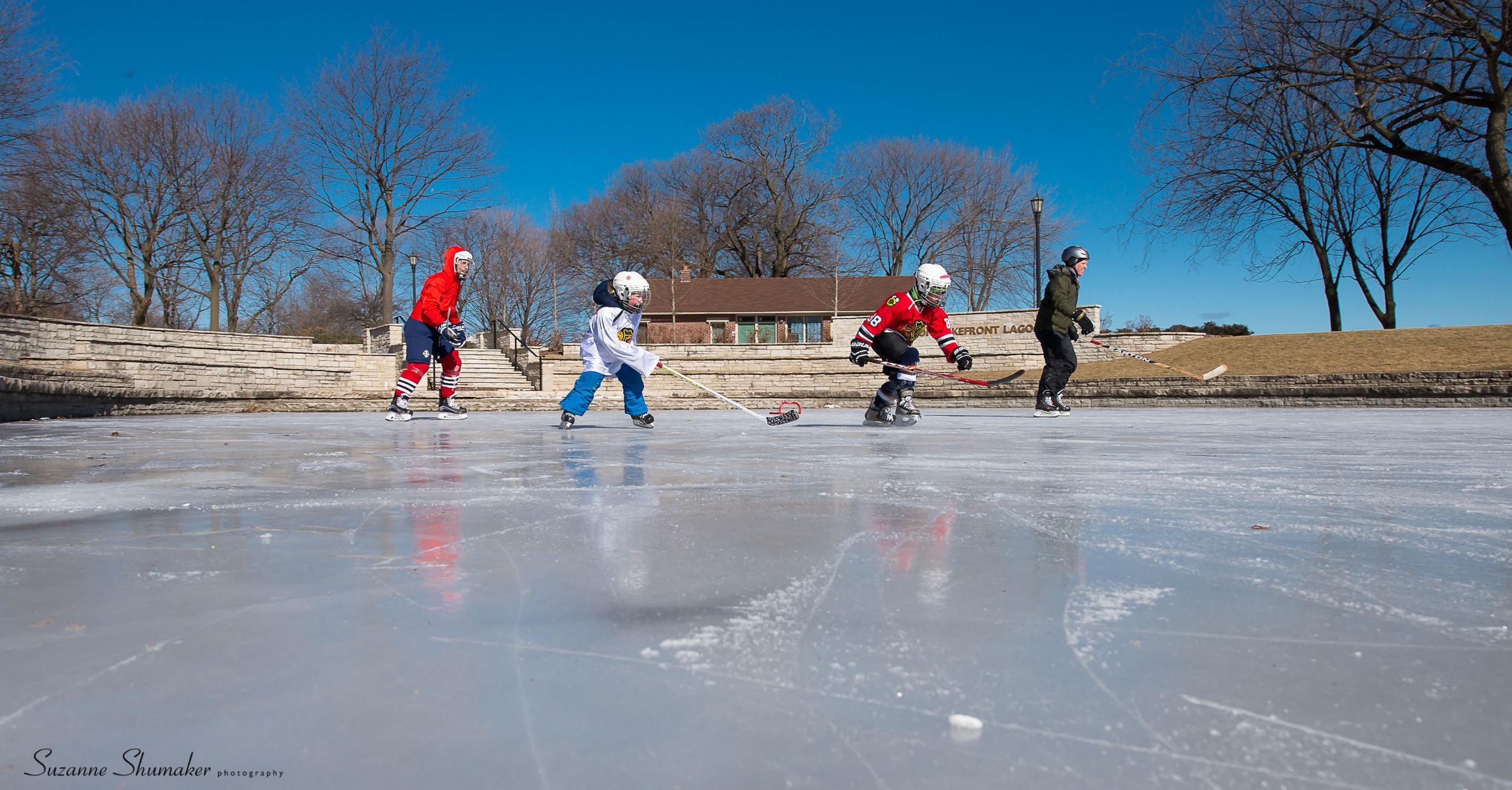 Lakefront Lagoon, Evanston , Morning Pick-up game.