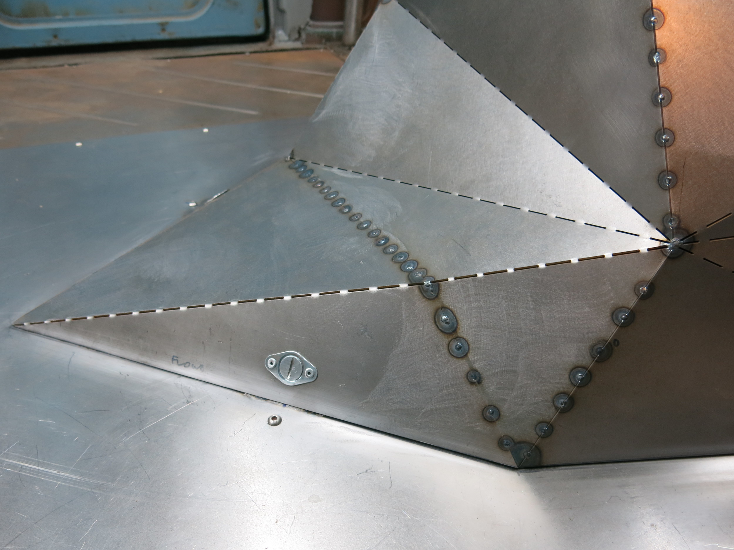 Facet Form motor enclosure detail showing Dzus fittings, a trusted race car body panel fascinating system.