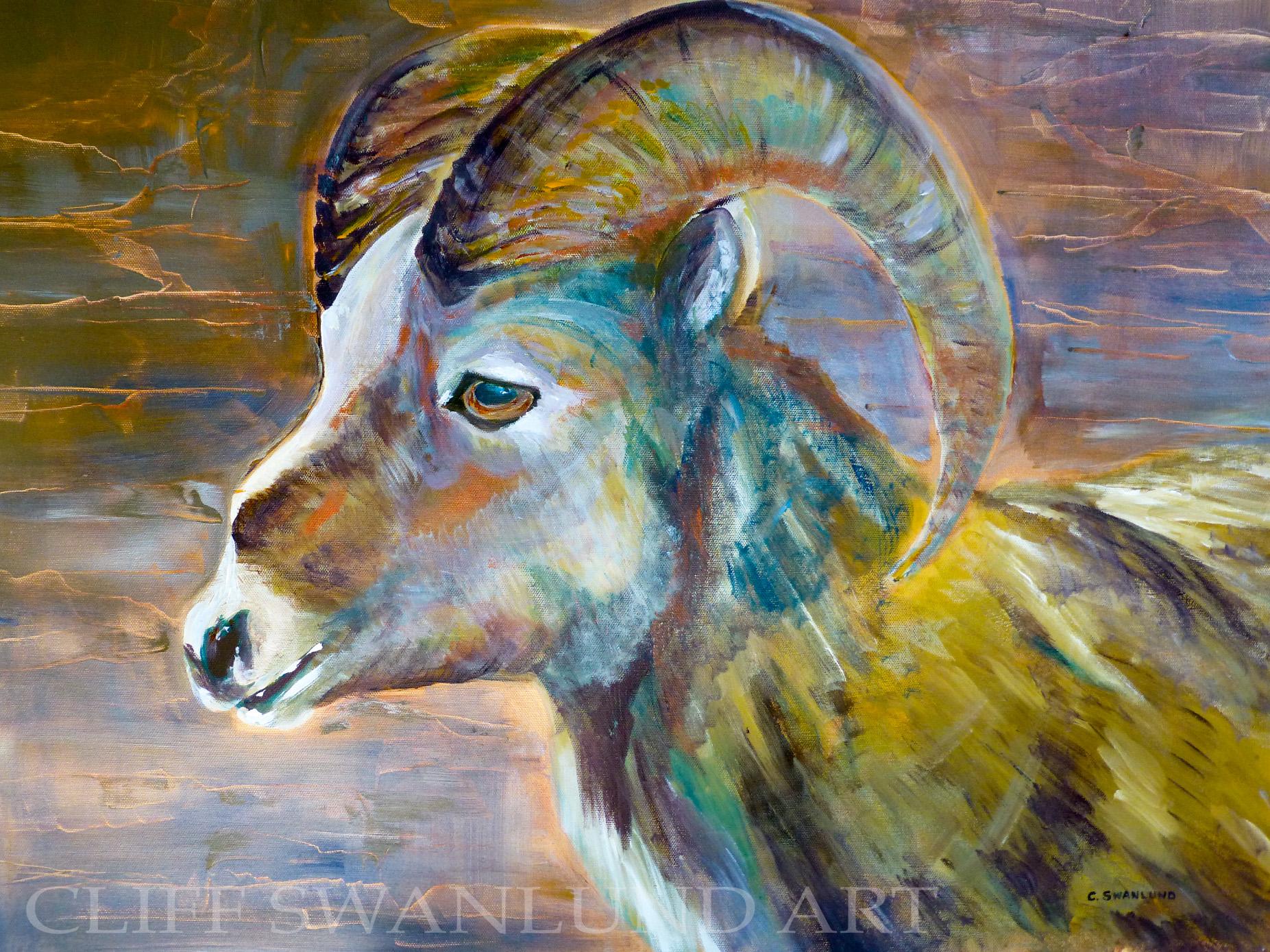 "available- $1200.00 framed-""Ram Head"" - 24"" X 30"" contact artist"