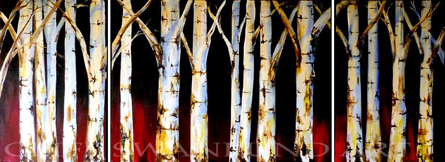 "sold-"" Birch Trees in Red "" triptych- 24"" X 36"", 36"" X 48"", 24"" X 36"" -"