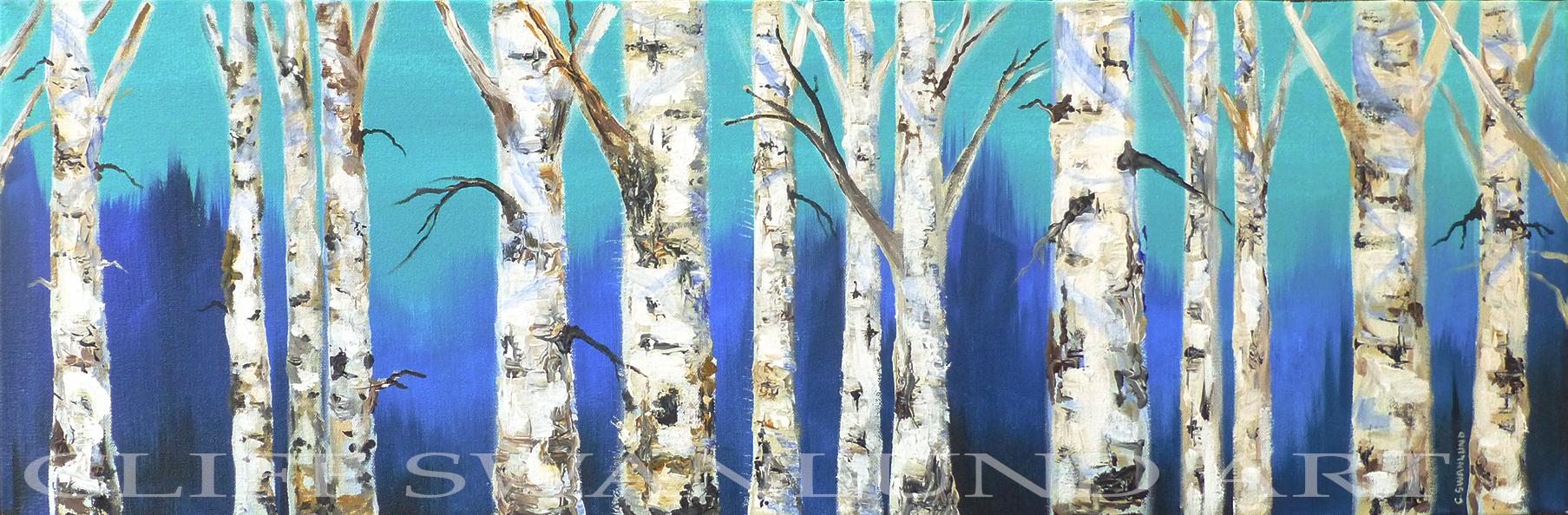 """sold- """"Birch Trees"""" triptych 12"""" X 36"""", 48""""X 36"""", 12""""x 36"""""""
