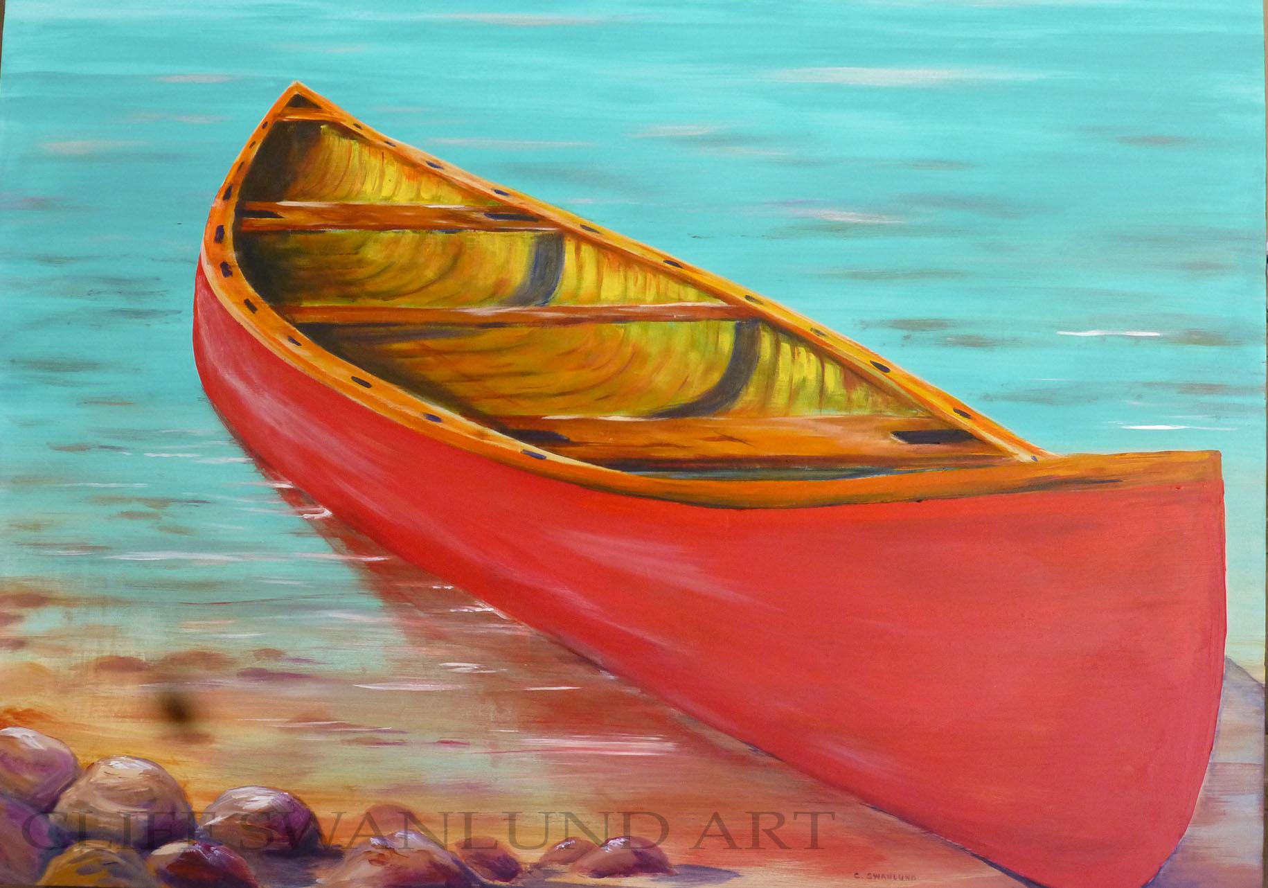 "sold- ""Waiting Canoe"" - 36"" x 48"" on board"