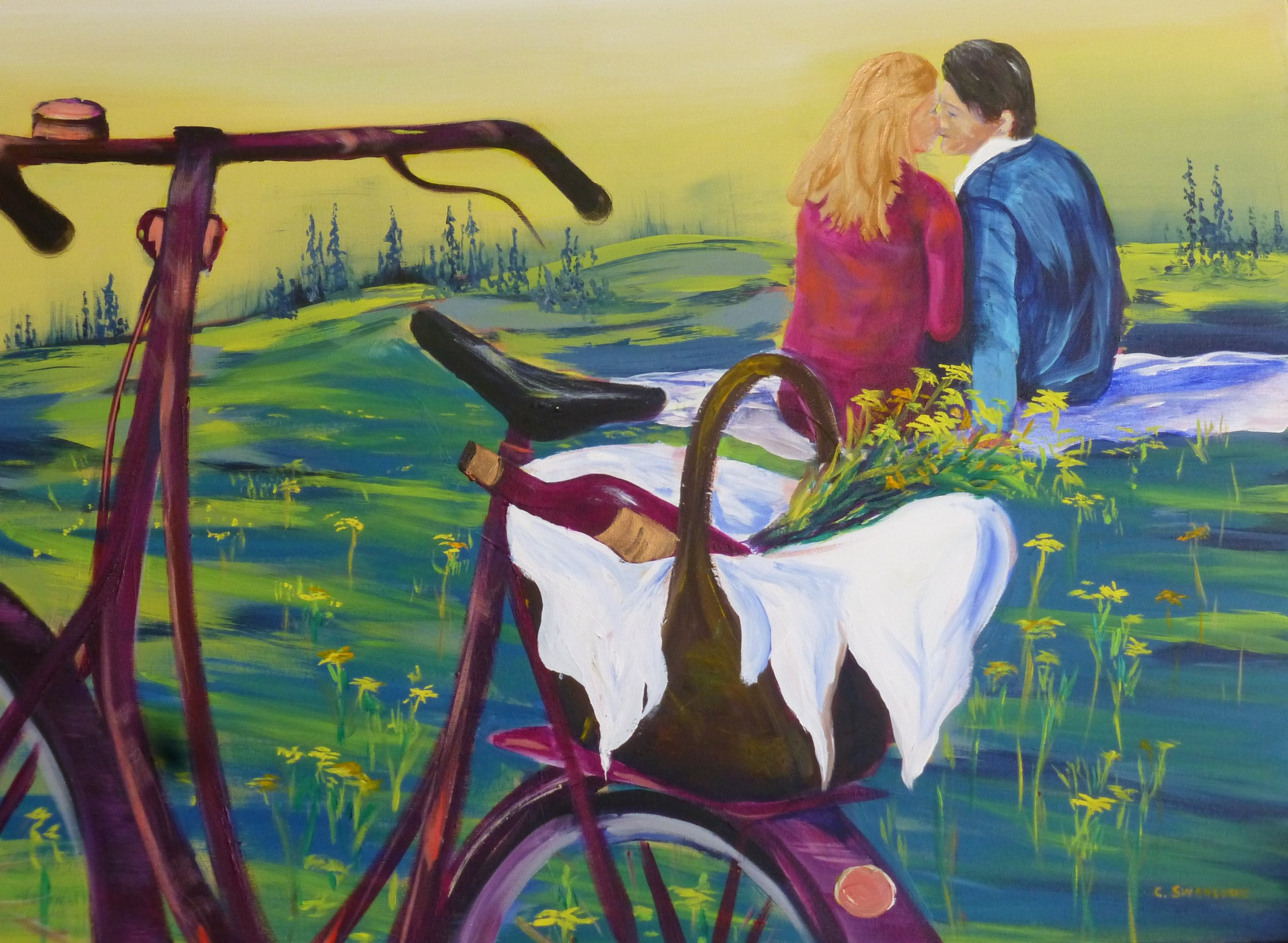 """available- $1050.00 -Lover's Picnic - 30"""" x 40"""" on canvas - available in Canmore Market Bistro, Canmore, AB"""