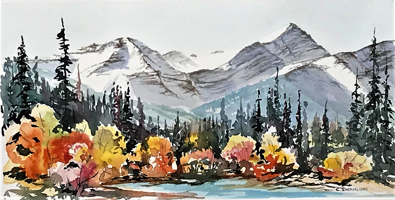 "available- $565.00 framed- ""Forget-Me-Not Kananaskis- 16 by 8 inches""- contact Stephen Lowe Art Gallery"