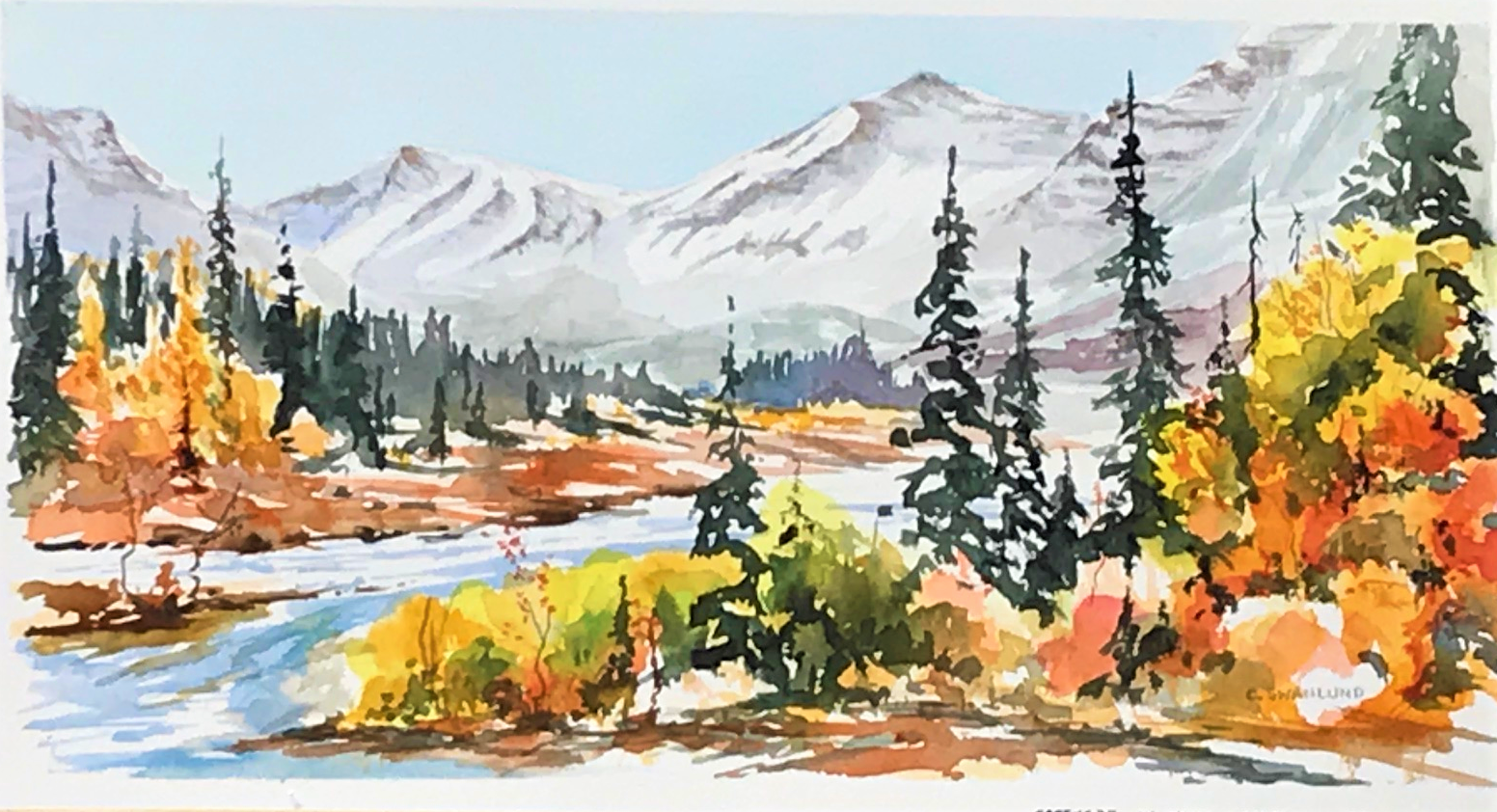 "available- 565.00 framed -""Creekside in Kananaskis-16 by 8 inches - contact Stephen Lowe Art Gallery"