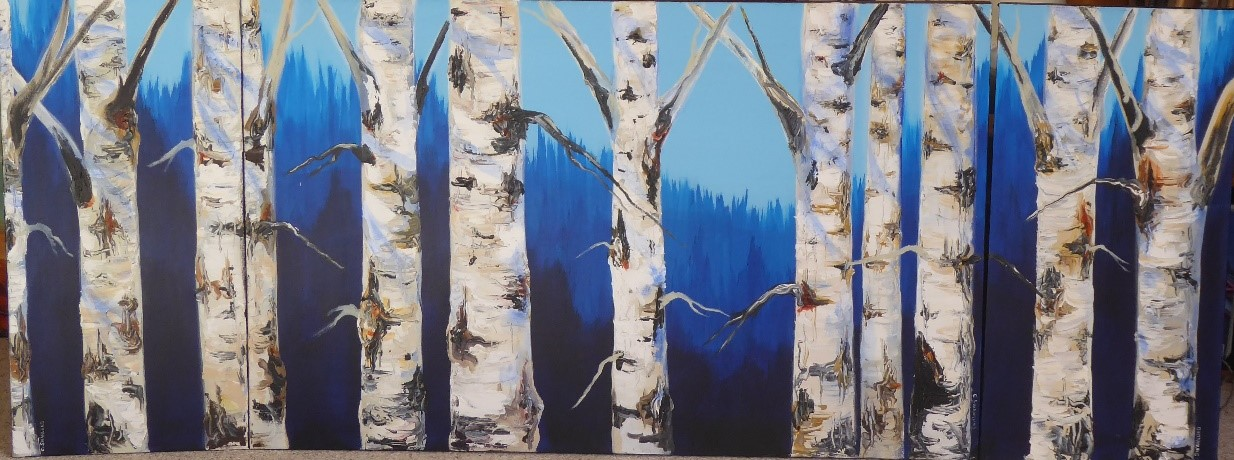 """available- $1800.00 """"Protectors of the Valley""""-triptych 30'x70'- available at the Market Bistro, Canmore AB"""