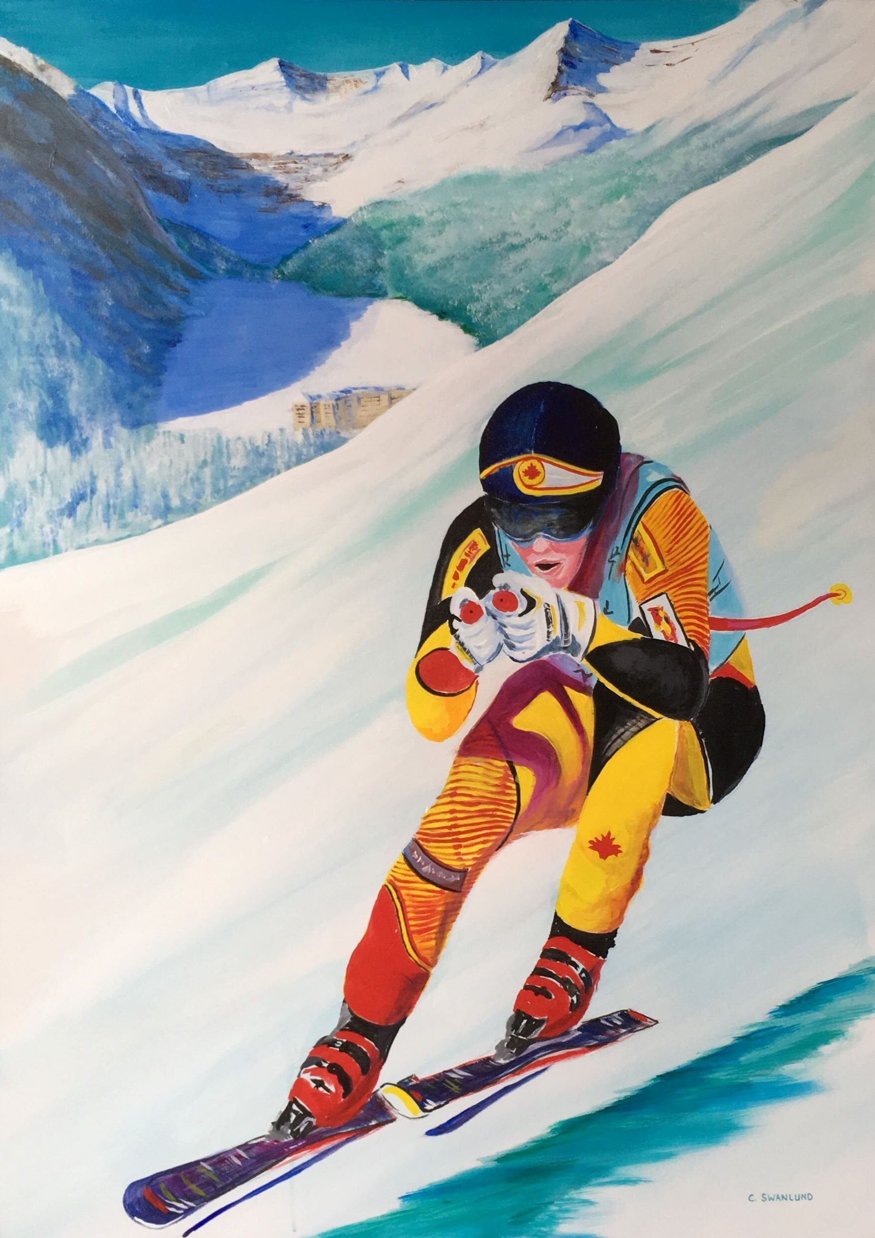 available-$1800.00-World Cup at Lake Louise-48 by 60 inches, acylic on canvass