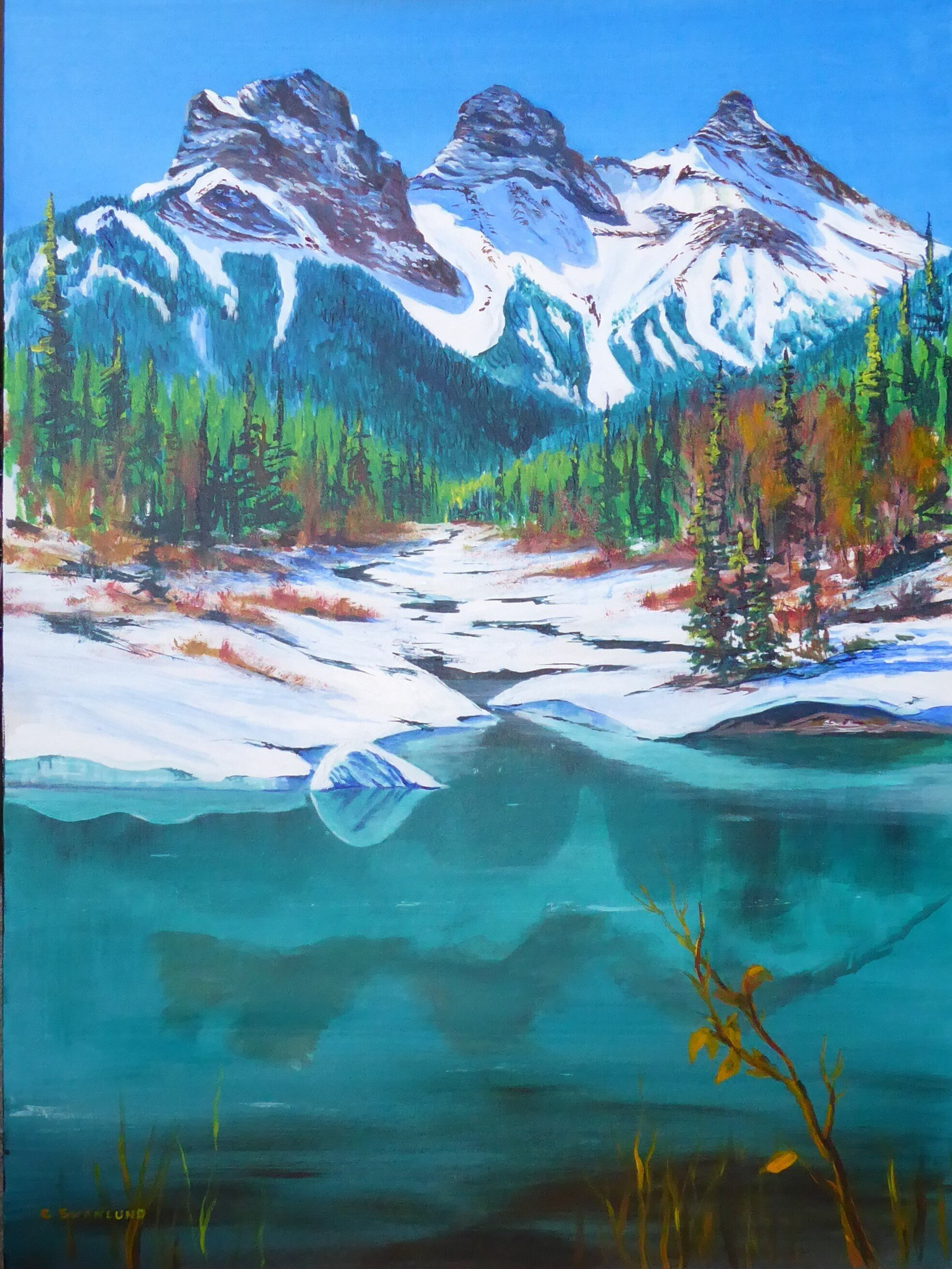 """available-""""1500.00""""-Springtime in the Rockies-36 by 48 inches-acylic on canvass"""