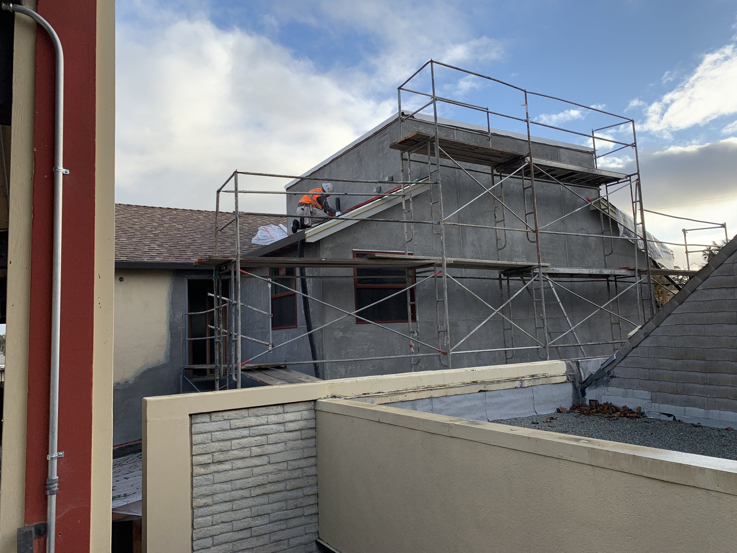 2-28-2019 Stucco on the second floor walls