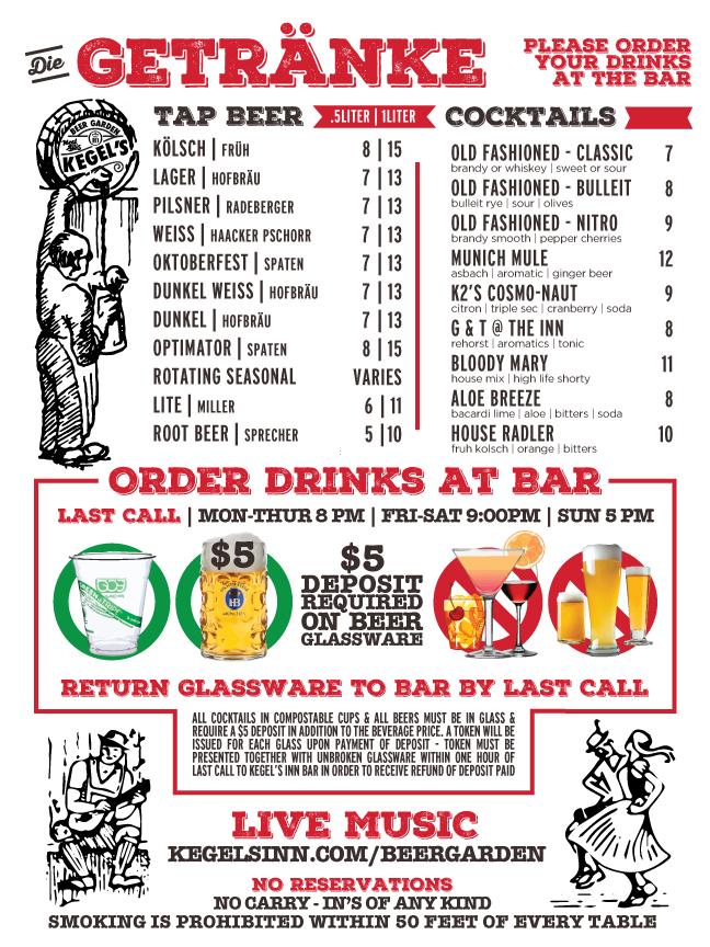 kegels beer garden drink menu