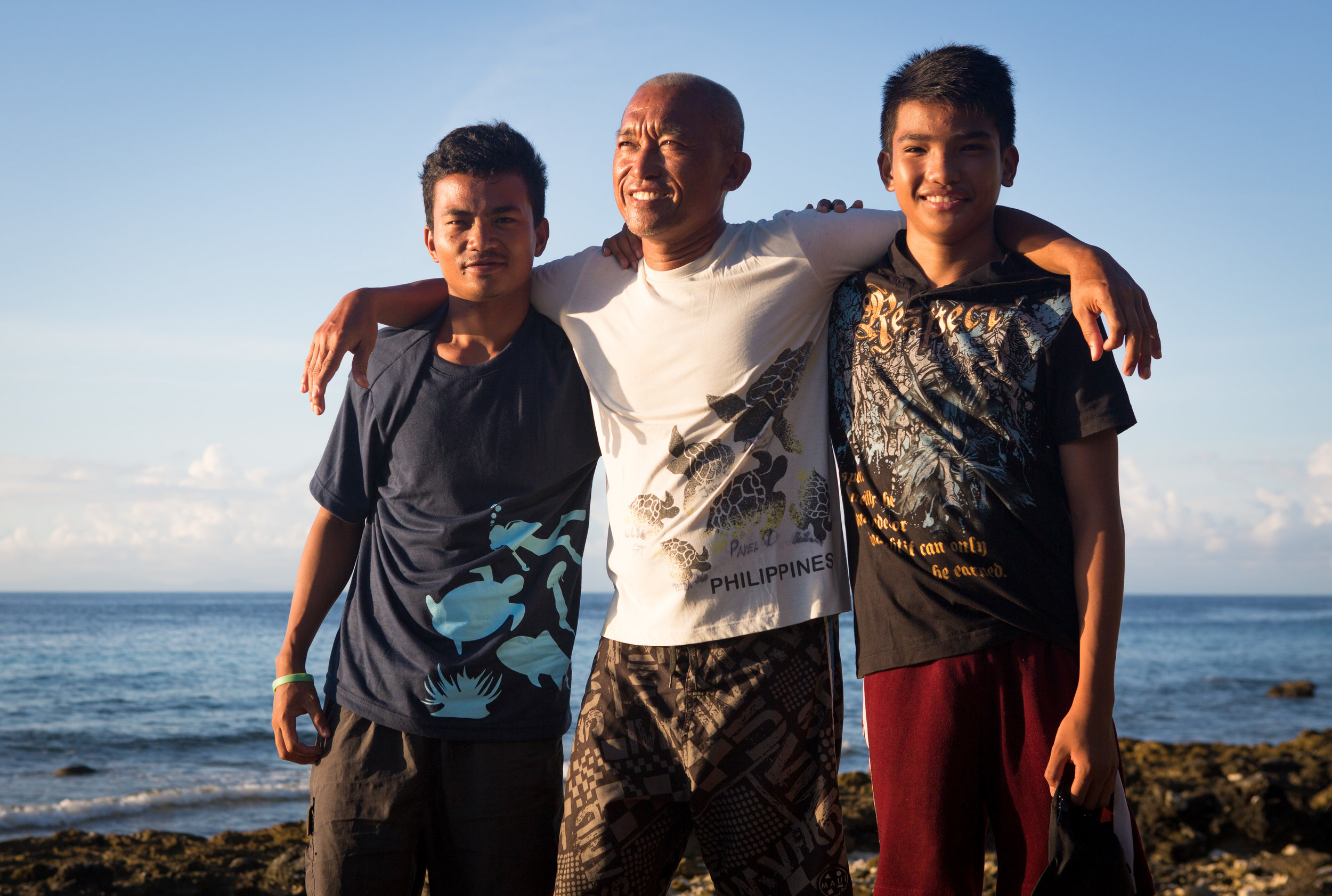 Jerome with his mentor, Mario, and Mario's son Angelo - the day after his graduation, April 2017. (Angelo graduated as a rescue diver at the same time Jerome graduated as a dive master).