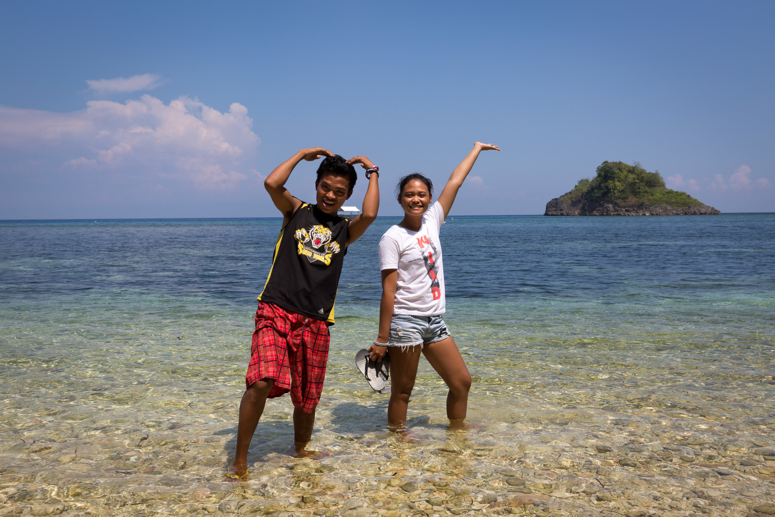 Mary Jean and her friend Jerome, who also studied as a dive master - at Danjugan Island, Philippines