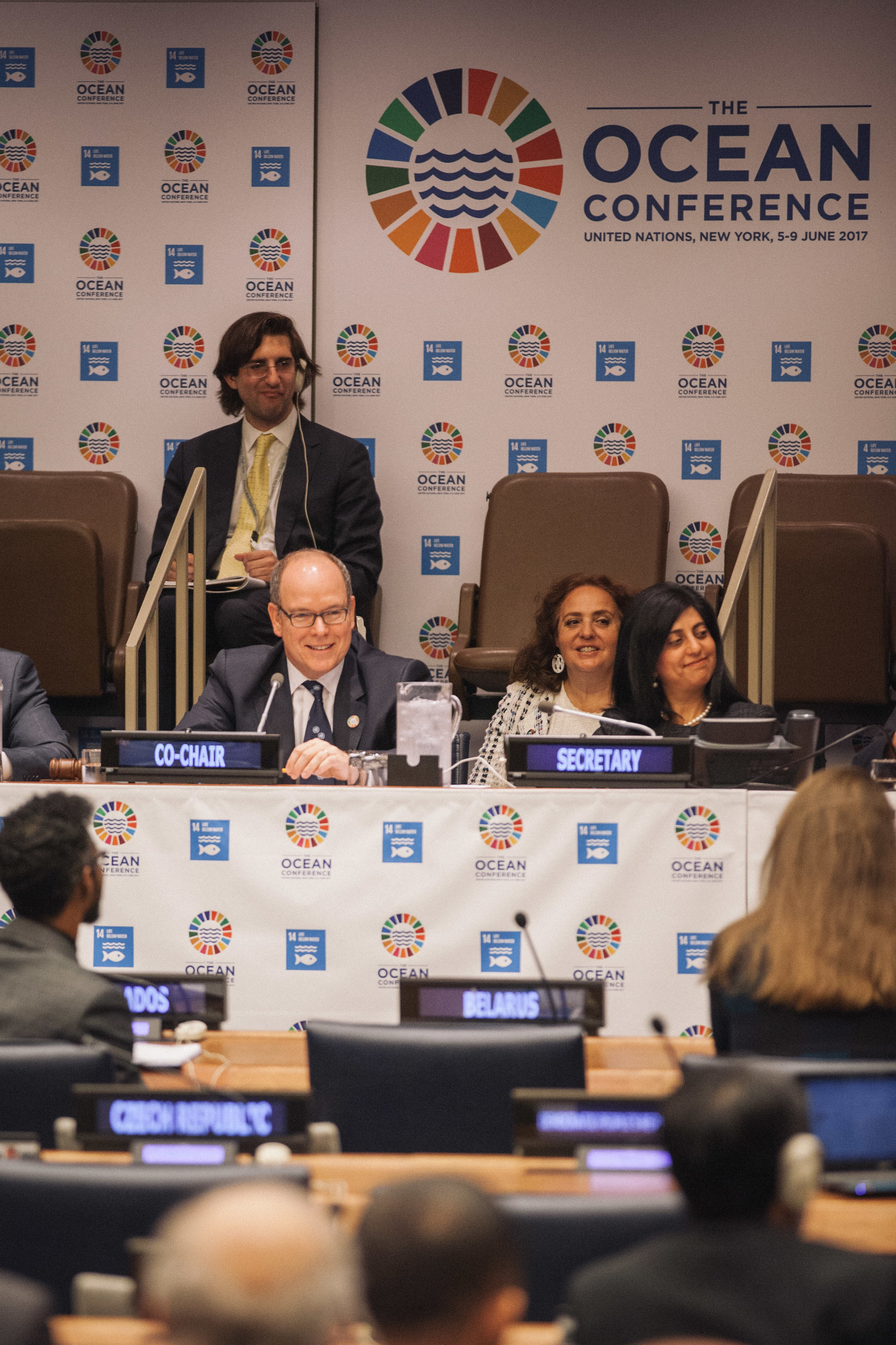 Prince Albert II co-chairs a session on climate change at the first Oceans Conference at the United Nations, 2017.