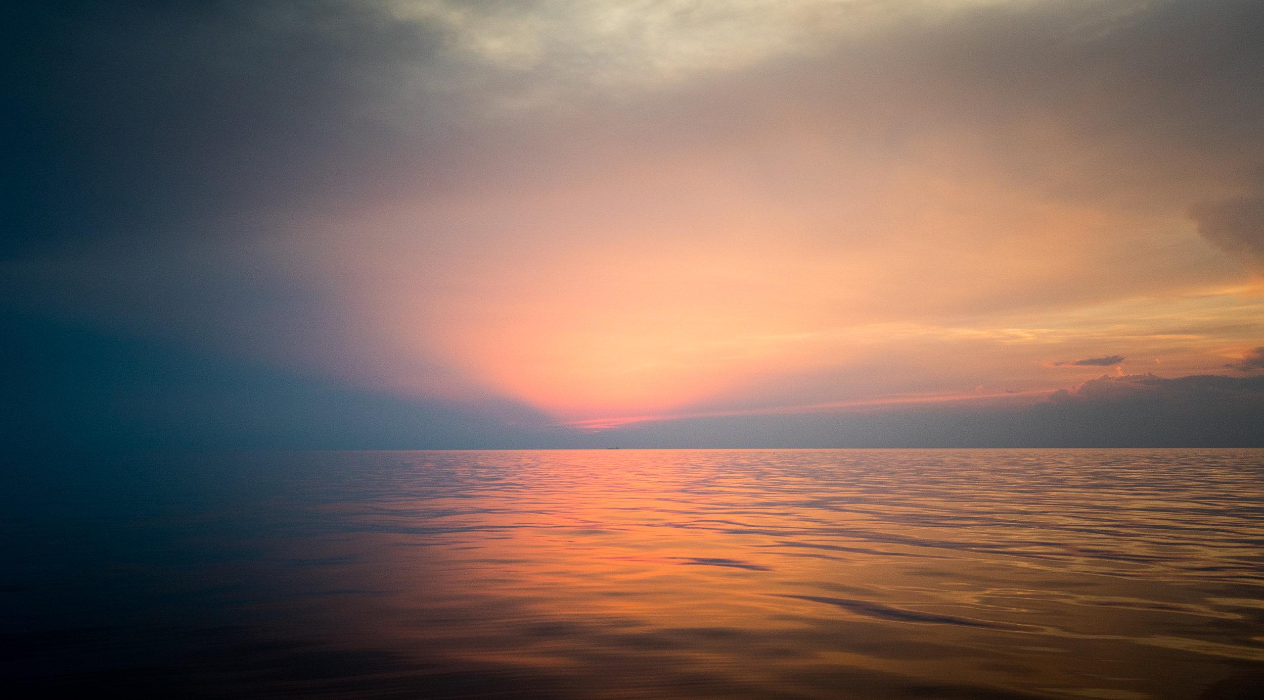 Sunset out in the Pelagos Sanctuary, Mediterranean Sea.