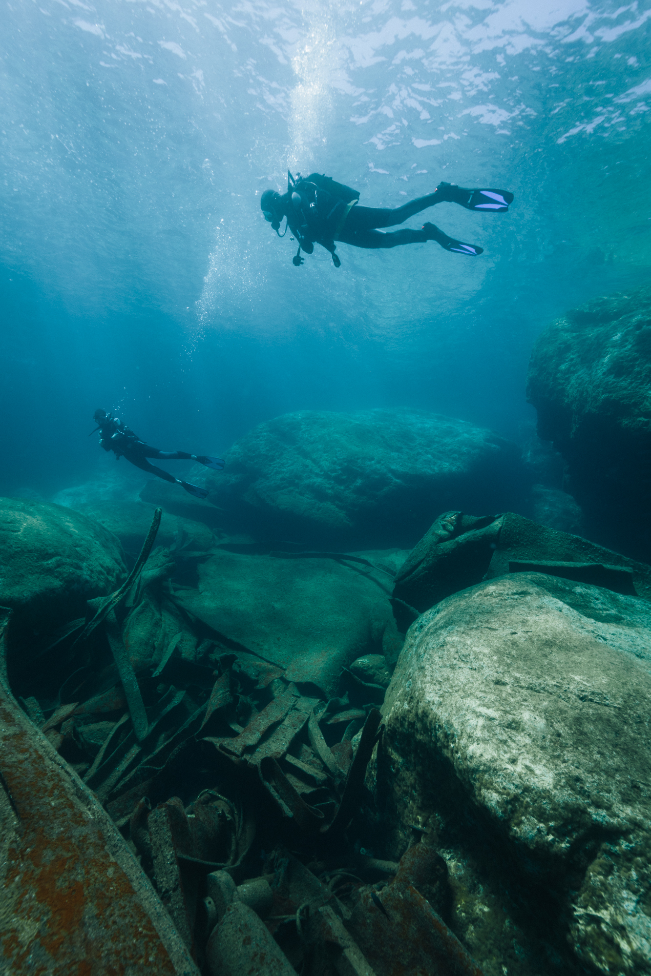 On the same trip visiting marine scientist Giuseppe Notarbartolo di Sciara, we went diving to explore the underwater world of the Mediterranean in Greece to see how empty and devoid of life it is from centuries of overfishing.