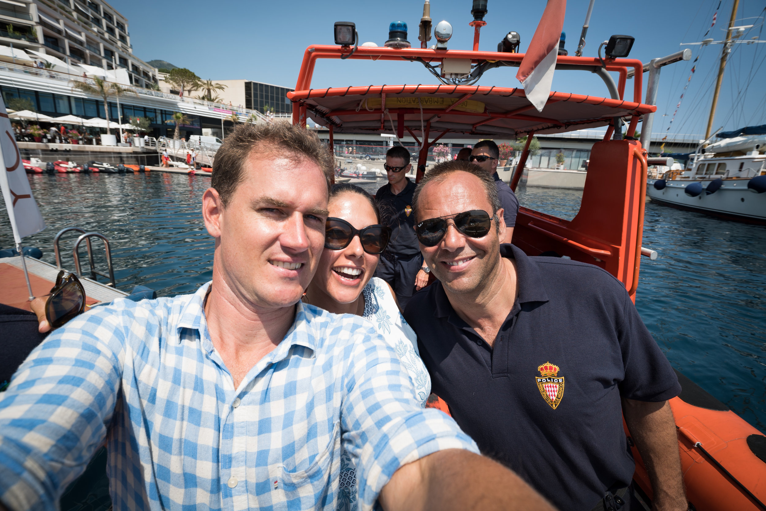 We don't often post 'selfies', but we couldn't resist. Co-director James Sherwood & Danielle Ryan with the Monaco Police.