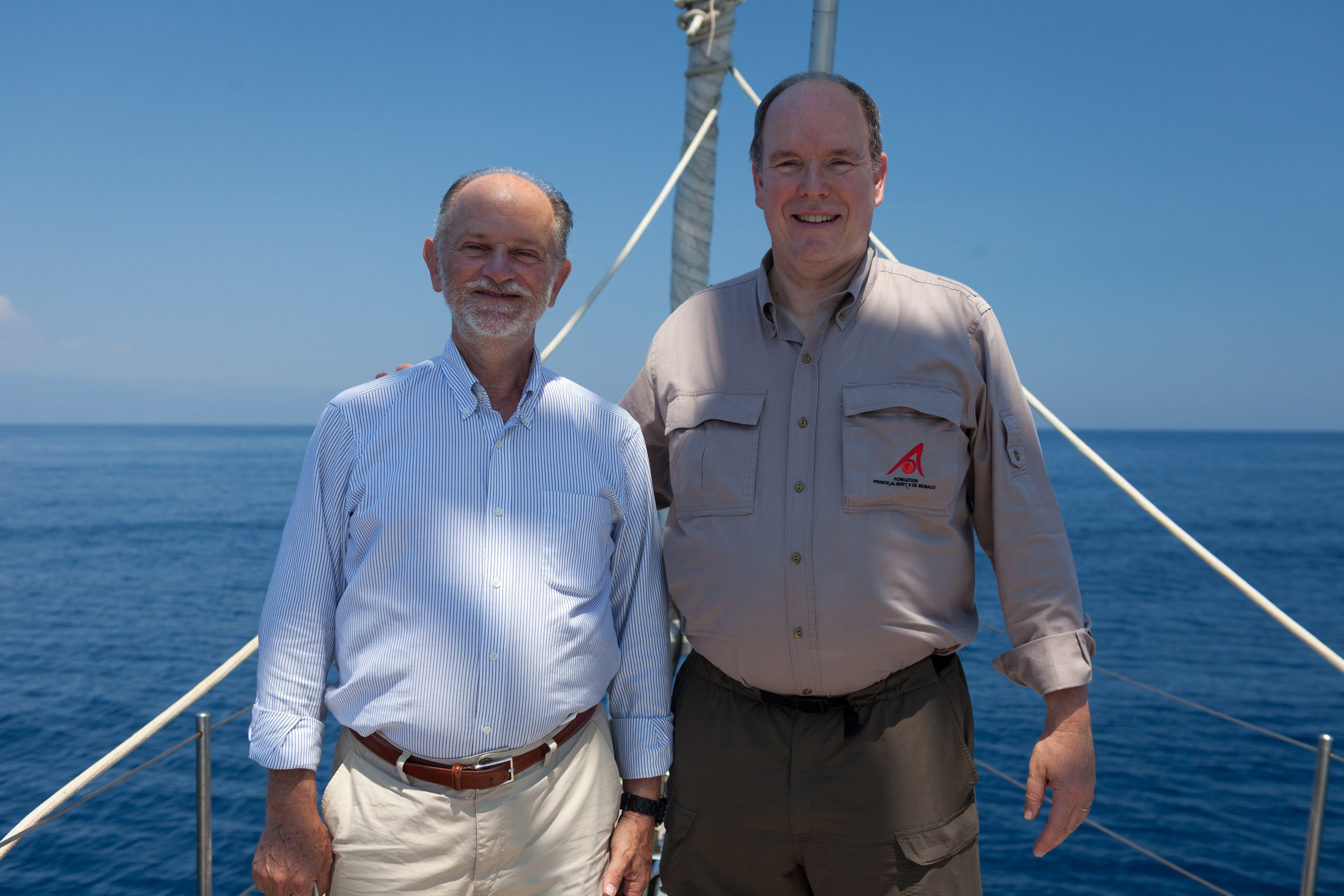 Italian marine scientist Giuseppe Notarbartolo di Sciara and Prince Albert II of Monaco out on the Pelagos Sanctuary, celebrating this special area that they have helped to protect and safe guard over the years.