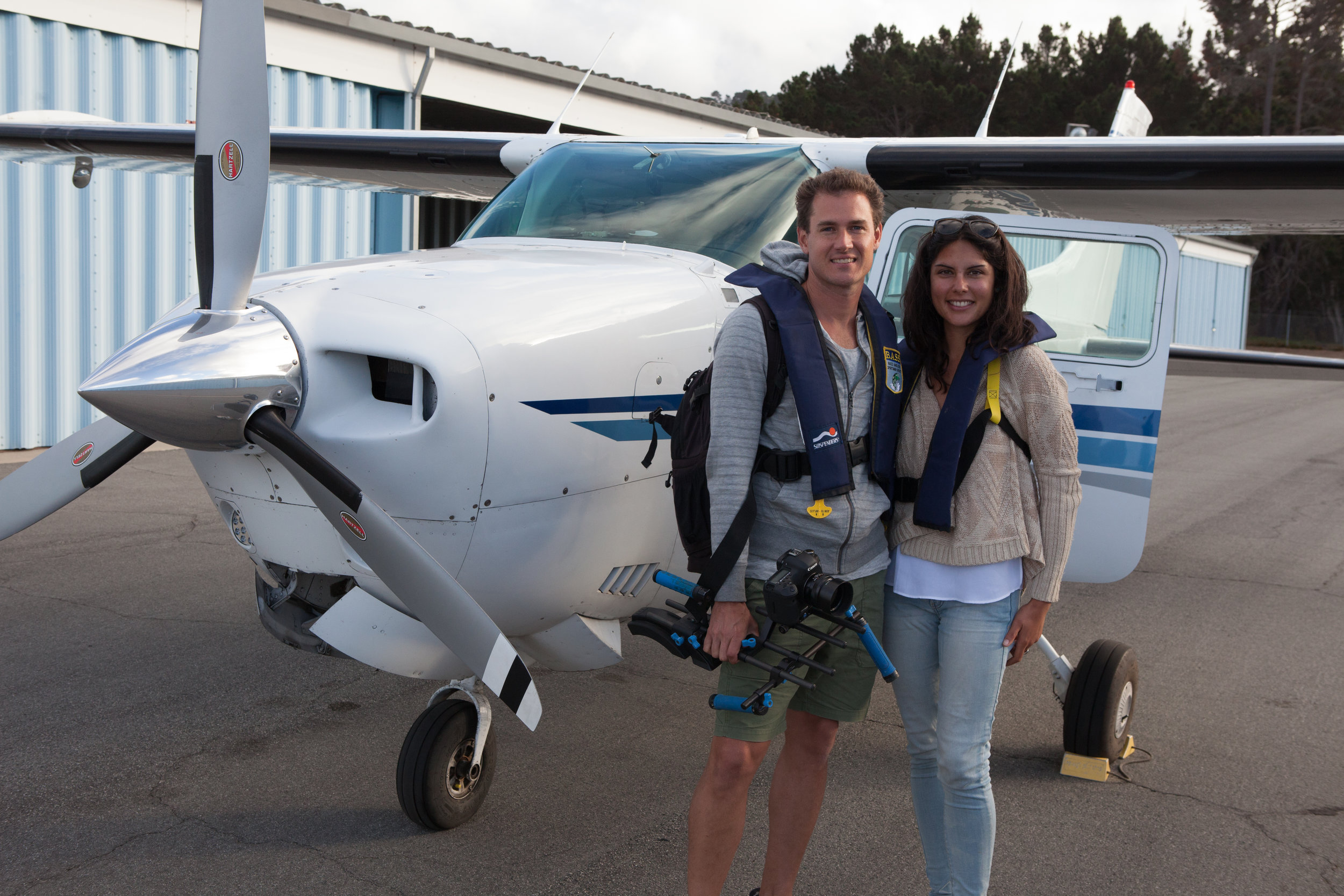 Co-Directors James Sherwood and Danielle Ryan ready to take their first flight with Mike Sutton over California's marine protected area in 2015.