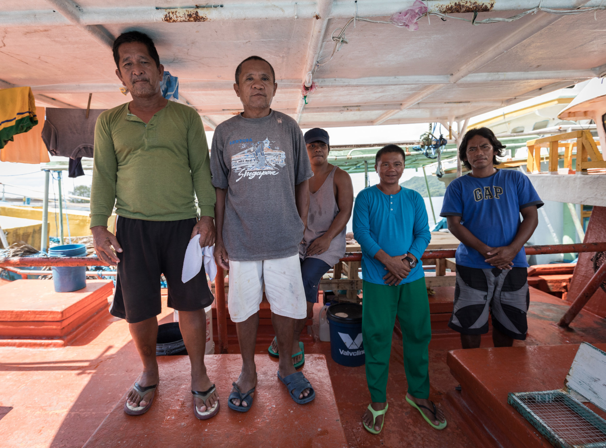 The Filipino fishing crew under house arrest, living on a seized vessel in Palau, June 2017.