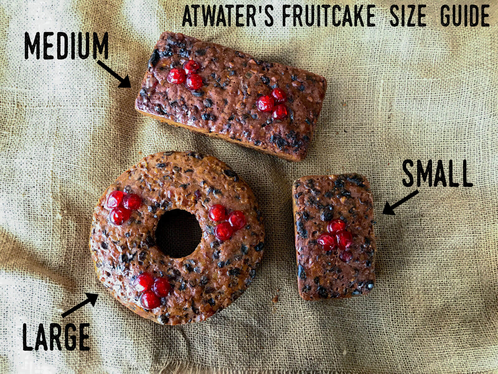 Our fruitcake comes in 3 sizes. We recommend the large size for yourself and the smaller sizes for loved ones. ;)