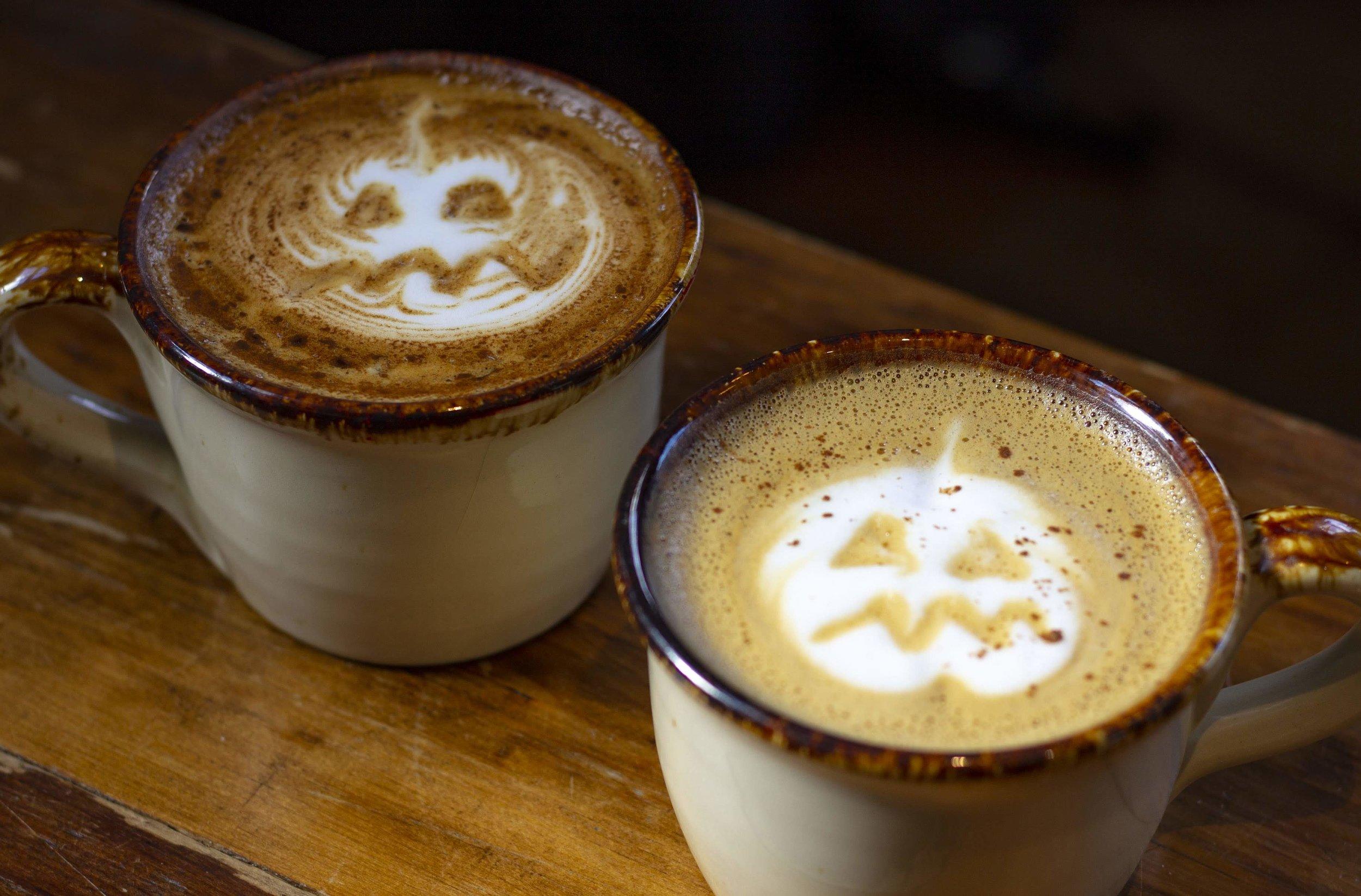 Halloween Latte Art in Handmade Mugs
