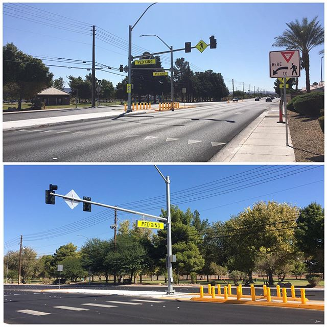 Pedestrian safety is on our minds with this new pedestrian crossing that was recently completed near Sunset Park at Eastern Avenue and Maule Avenue. IQC performed contractor quality control services for this project which included field testing services for soils, concrete, asphalt and the Quality Control Manager (QCM) position. Great job team! #iqcsouthwestlv #qualitycontrol #pedestriansafety #crosswalk
