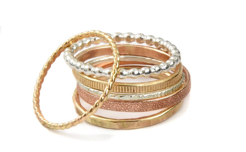 Rachel sixer 14k gold fill yellow rose sterling silver stacking bands Agapantha Jewelry JA 1024.jpeg
