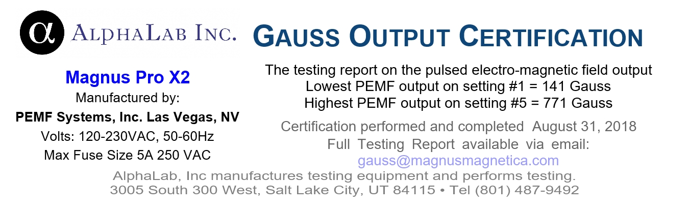 AlphaLab Gauss Certification for Magnus Pro X2
