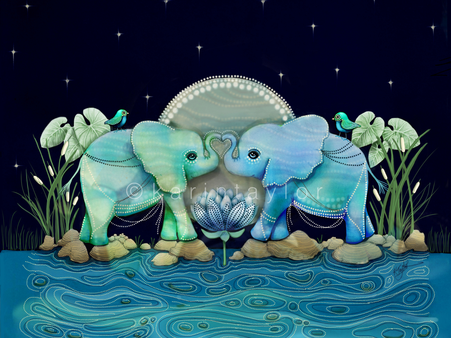 Lotus Flower Elephants Ocean Blue and Sea Green