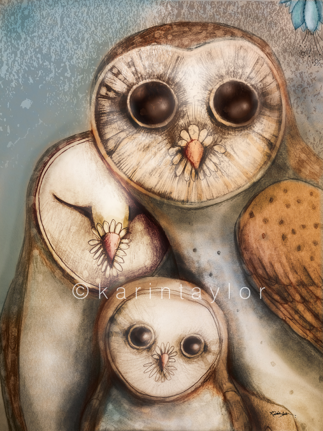 Three Wise Owls painting by Karin Taylor