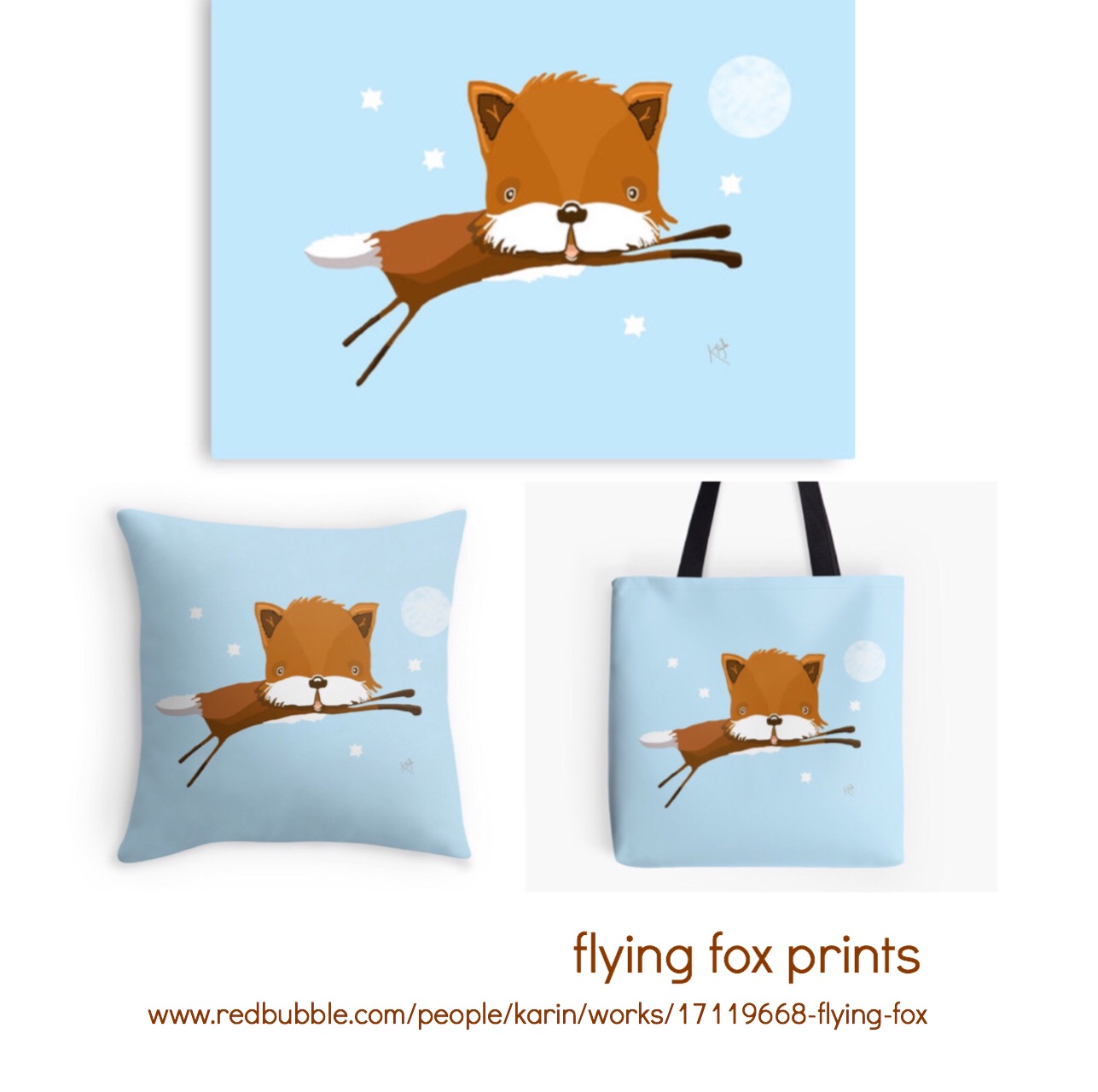Flying Fox prints, pillows and bags etc