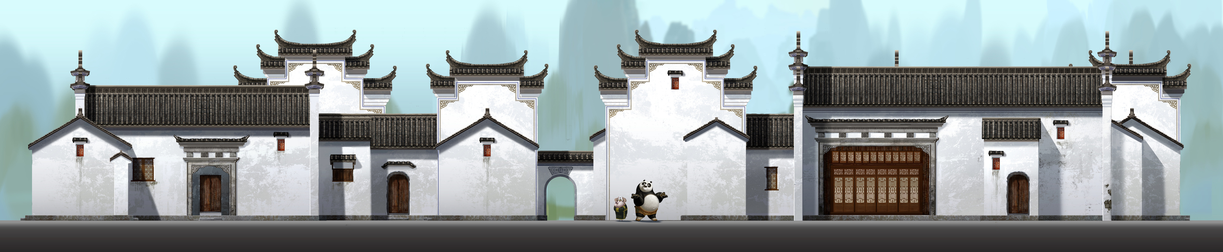 Kung Fu Panda, DWA Po's neighborhood - Building design