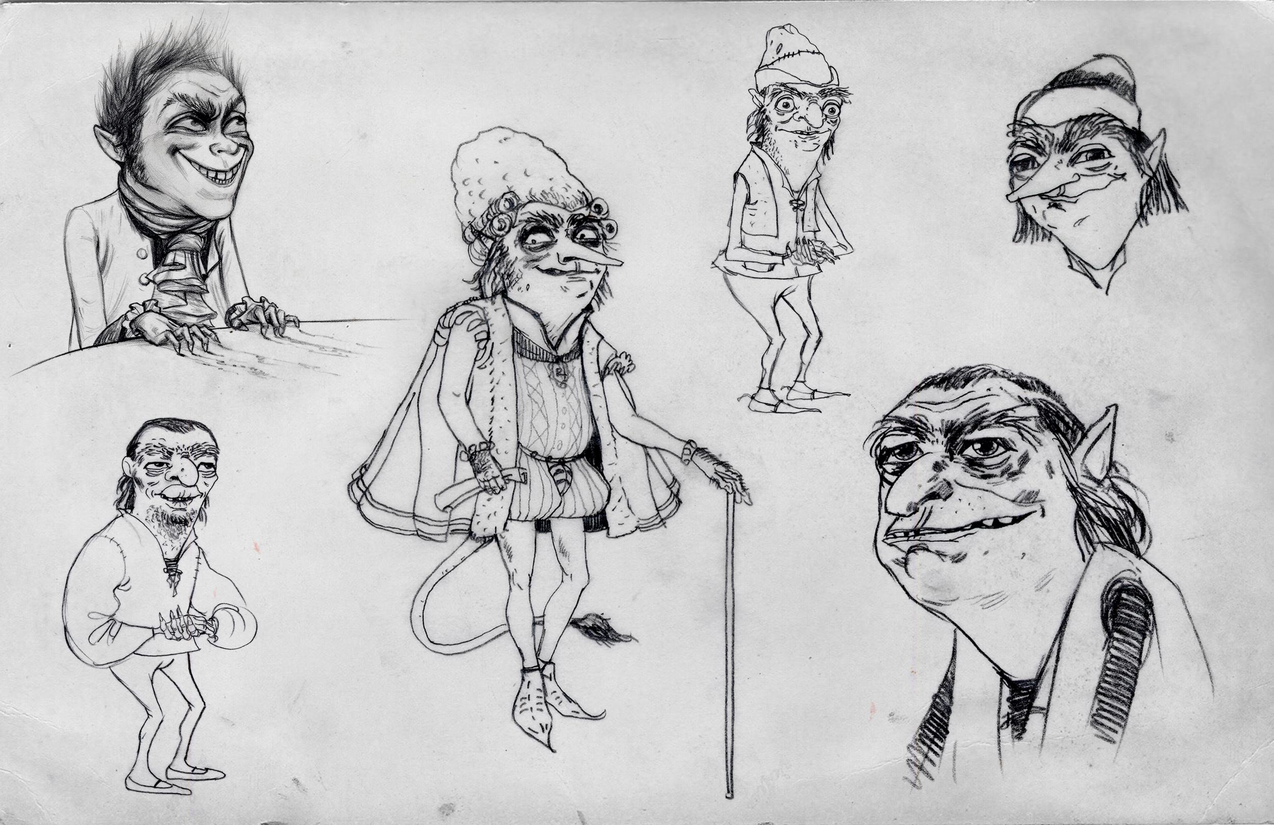 Shrek Forever After, DWA Rumpelstiltskin character design sketches