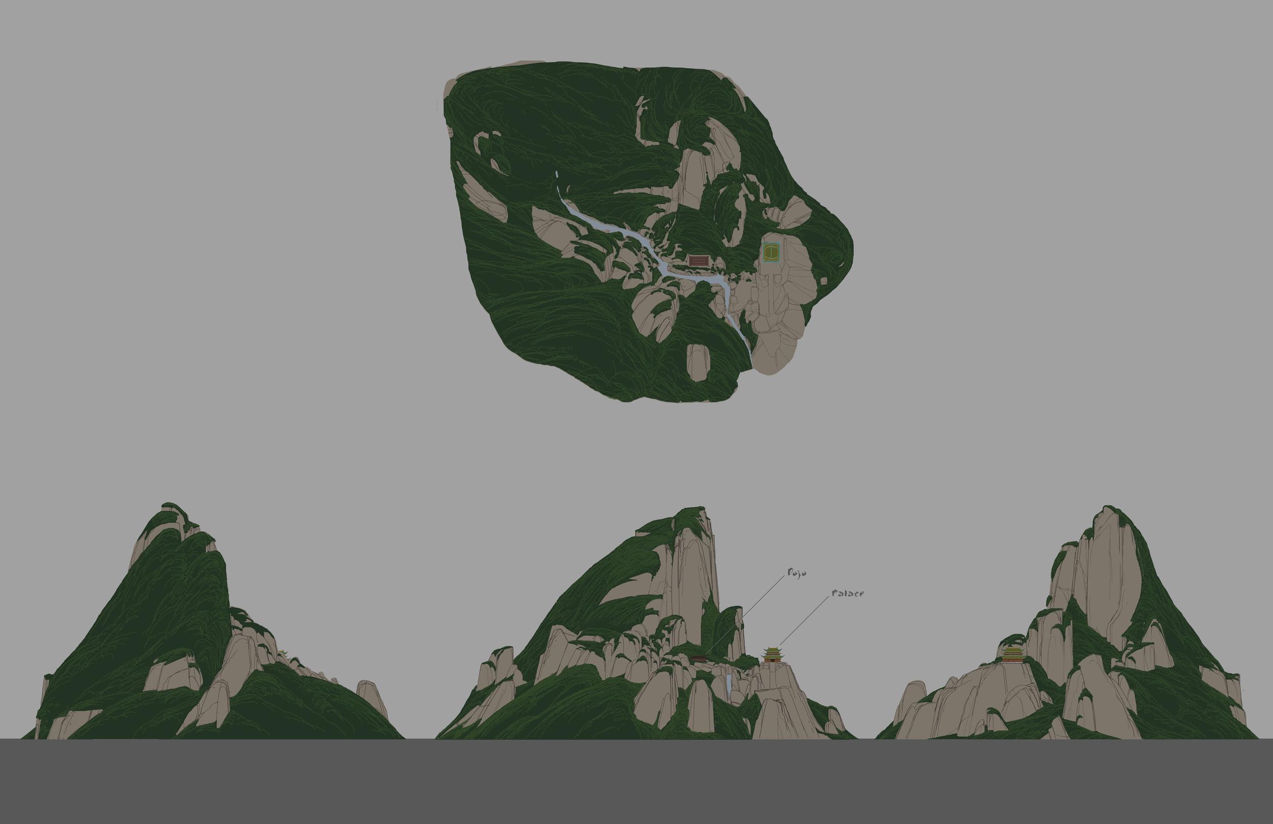 Kung Fu Panda, DWA Jade Mountain design - Orthographic view