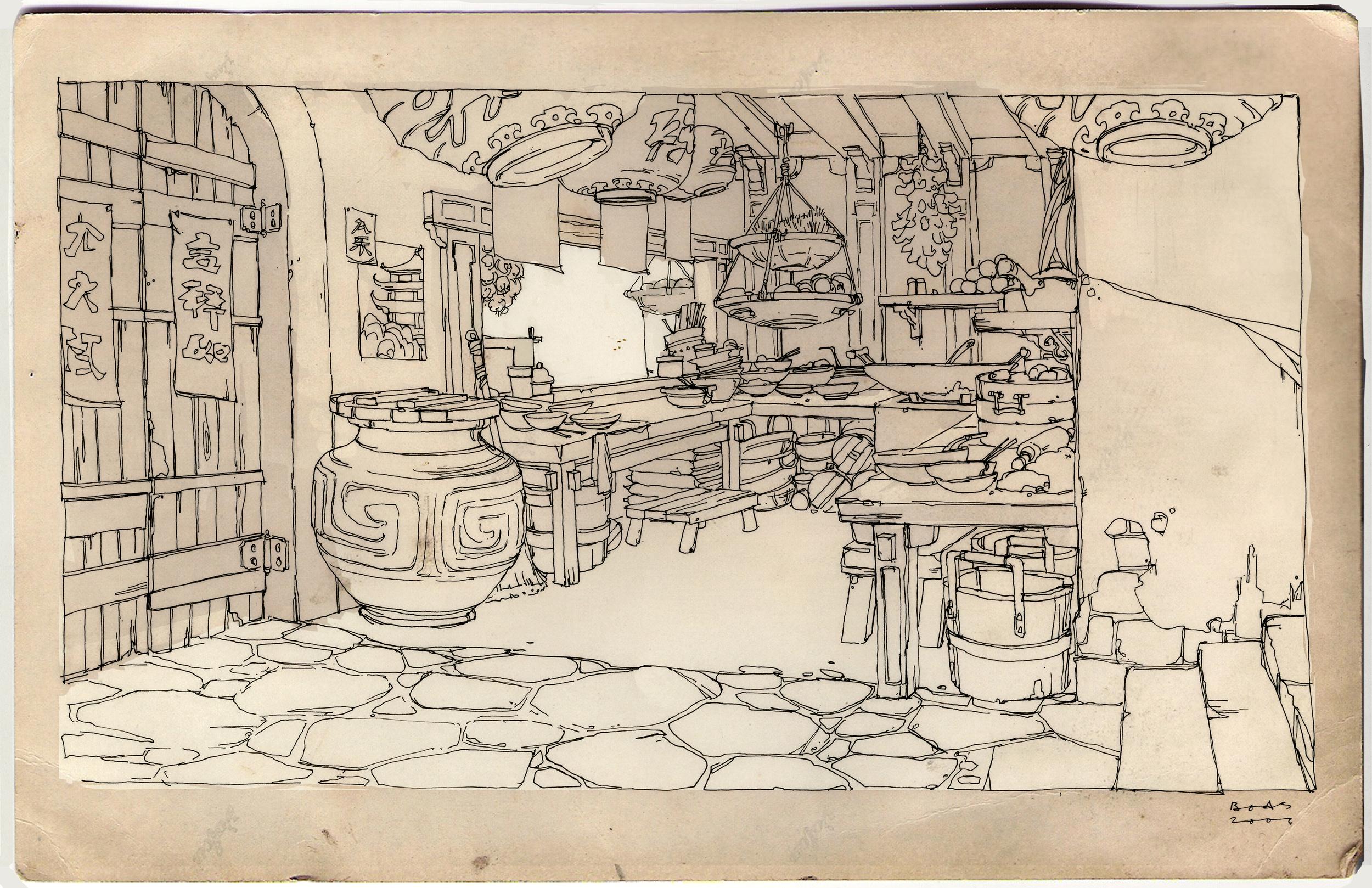 Kung Fu Panda, DWA Noodle shop design drawing