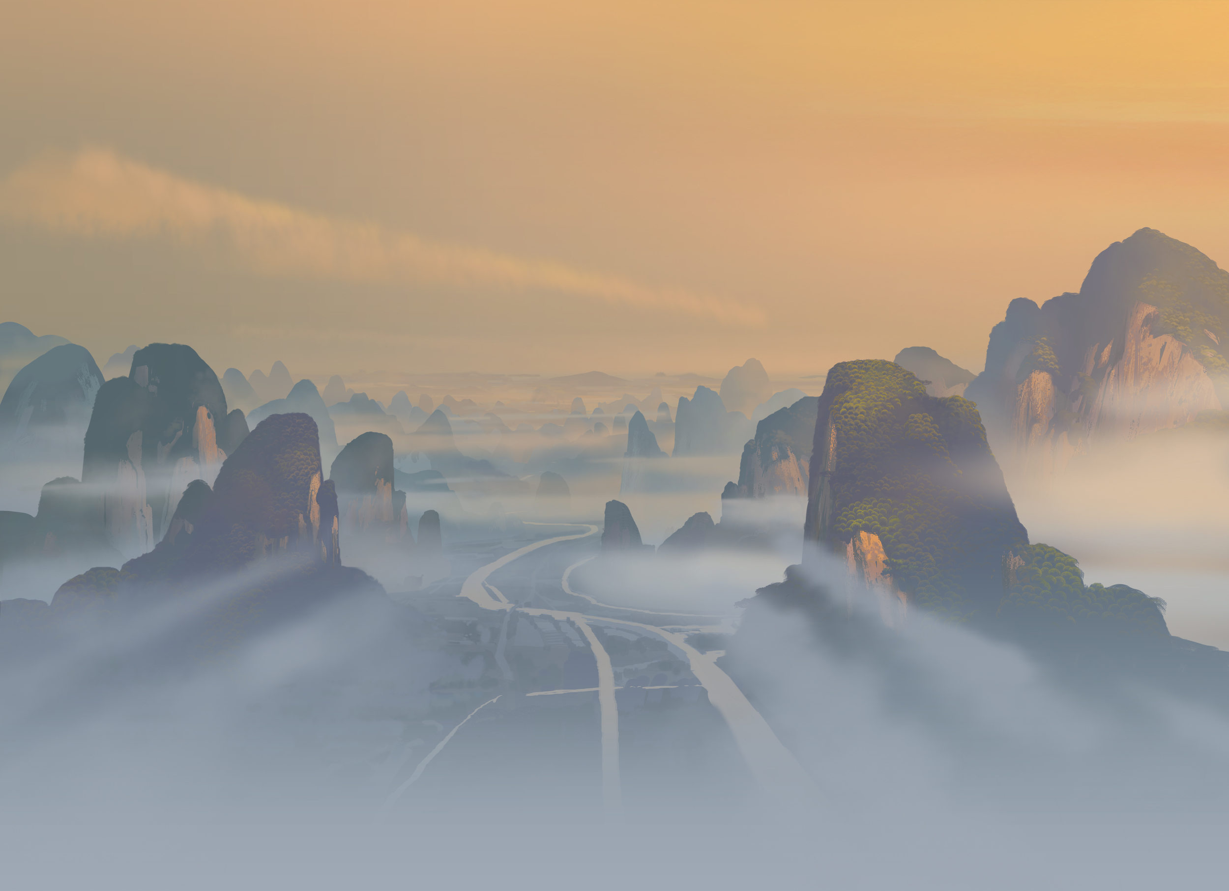 Kung Fu Panda, DWA Matte Painting key - Valley of Peace