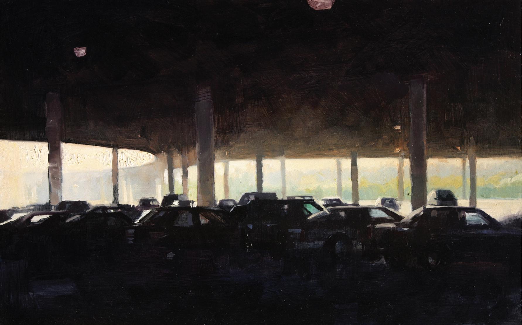 """""""Parking, full"""" Oil on panel 10"""" X 14"""""""