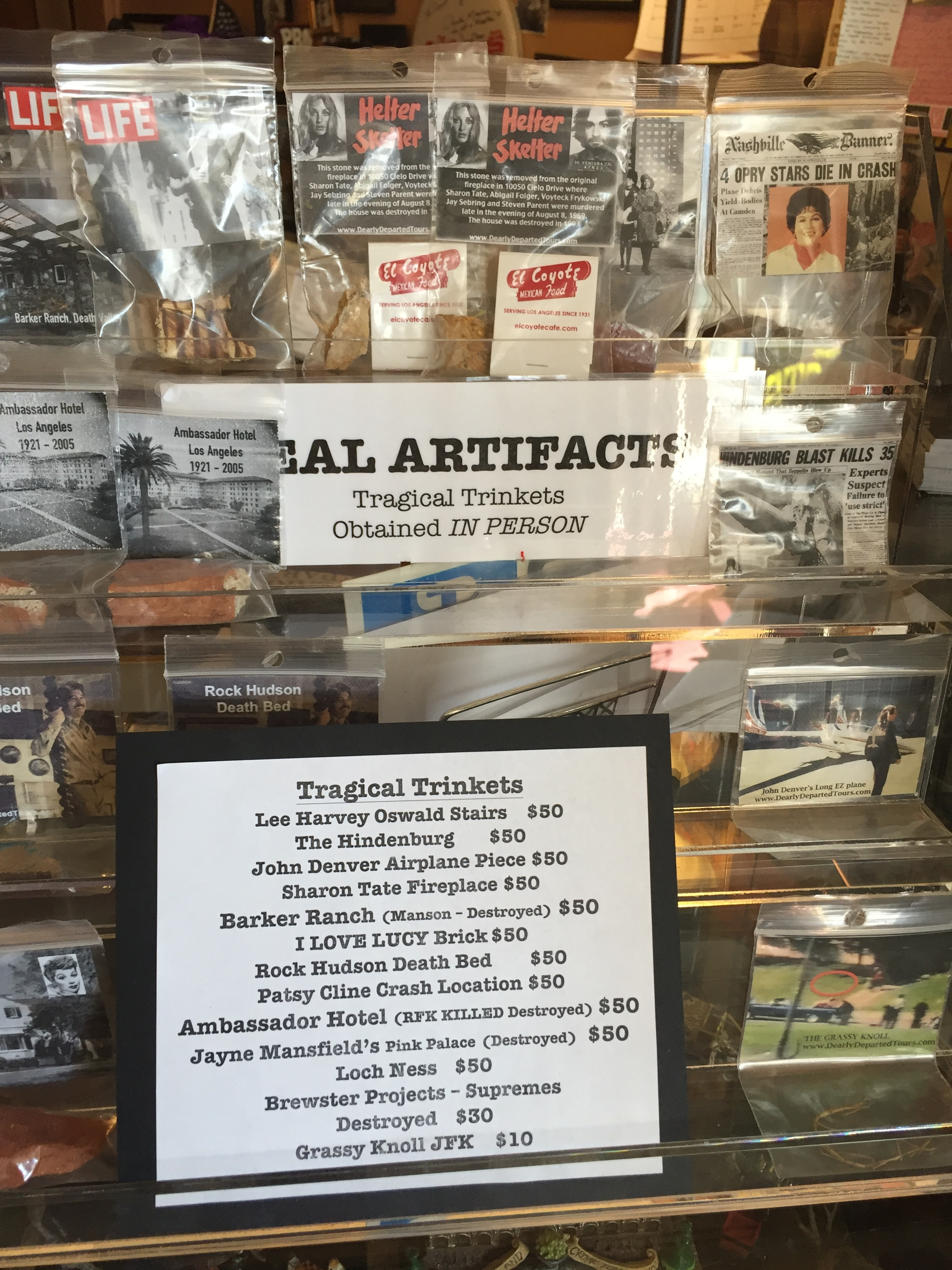 Trinkets for sale in tour museum